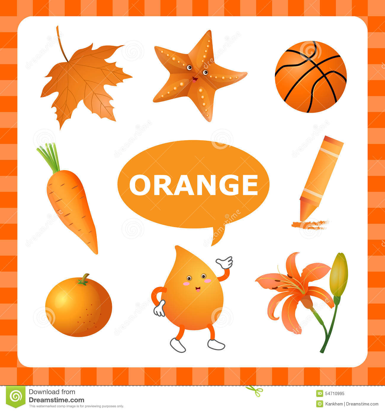 Learning Orangecolor Stock Vector