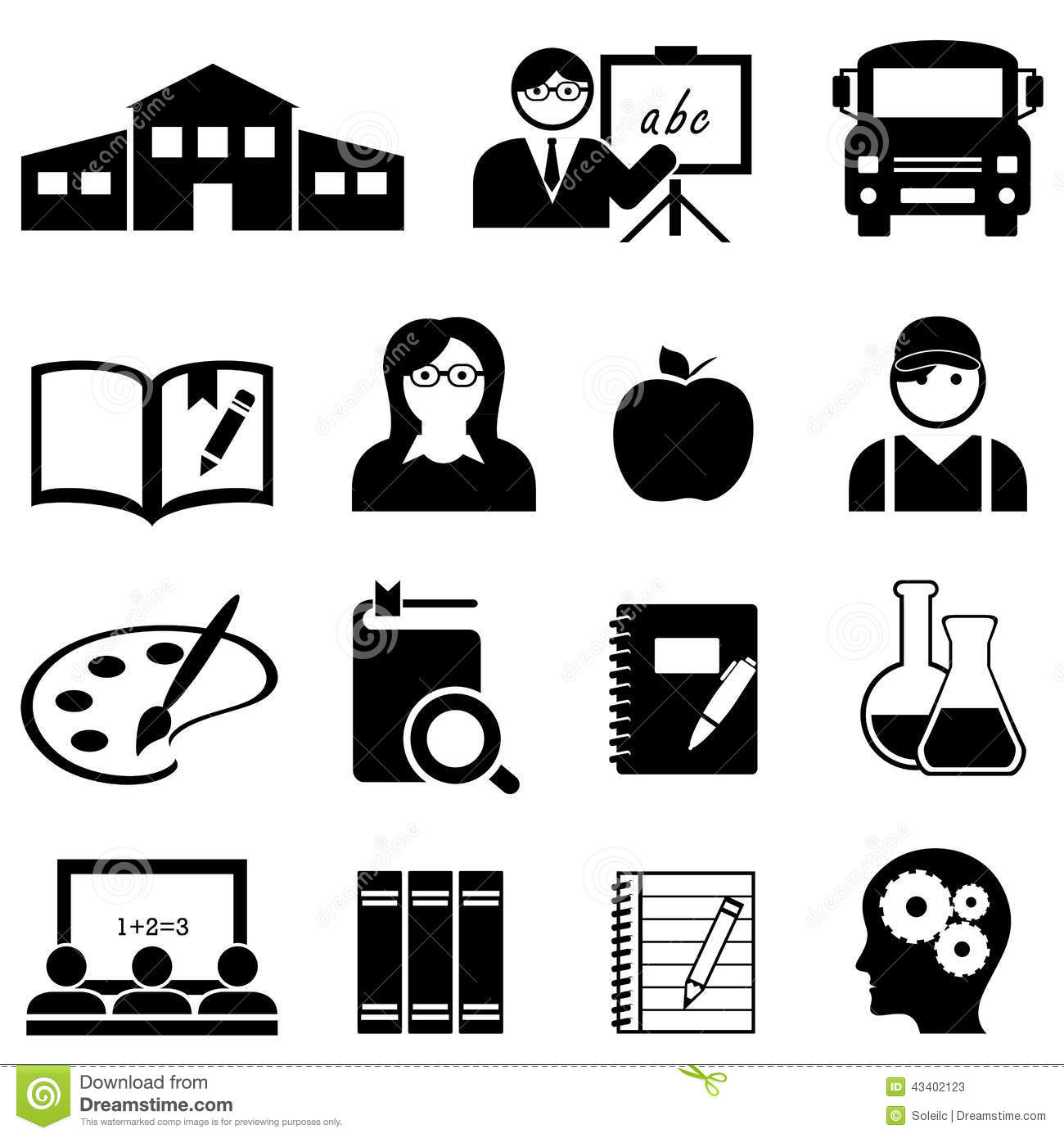 Learning School And Education Icons Stock Vector