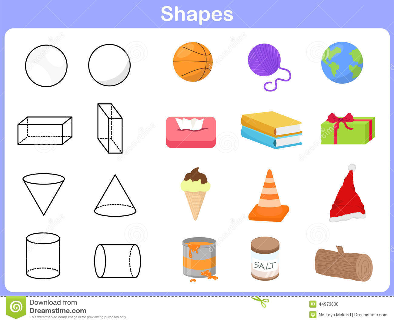 Learning The Shapes With Object For Kids Stock Vector