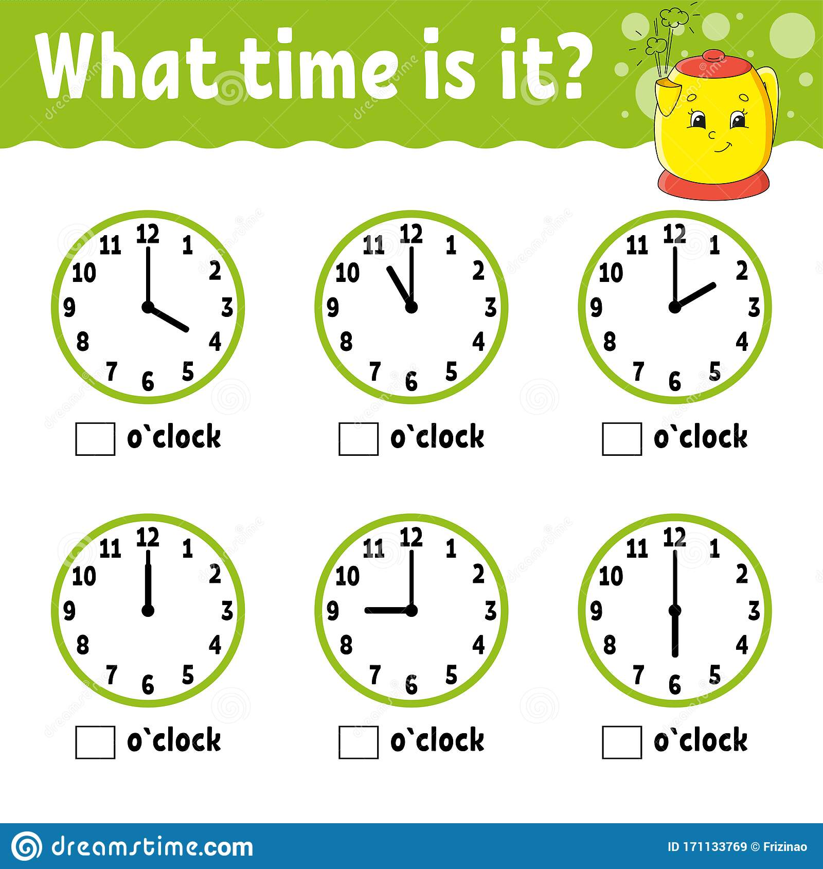 Learning Time On The Clock Kitchen Kettle Educational