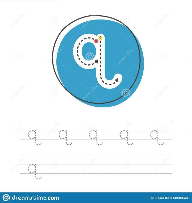Learning to write q 18 stock vector. Illustration of child - 18