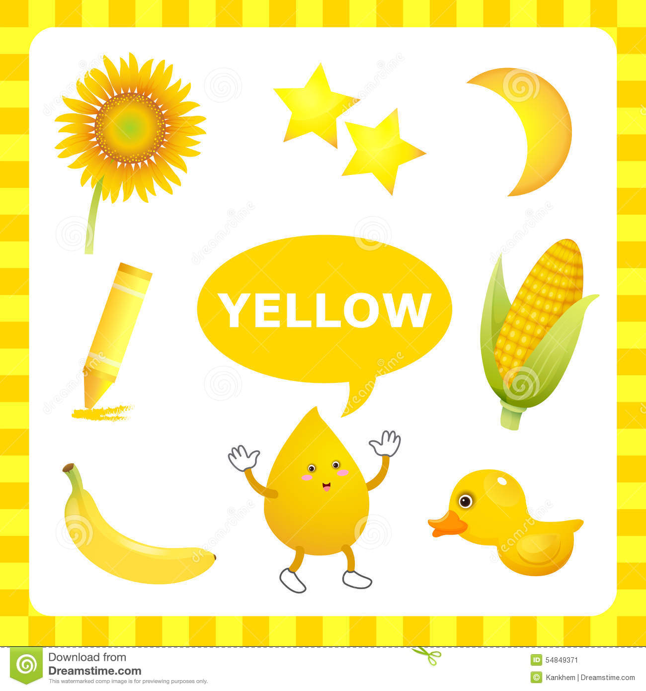 Learning Yellow Color Stock Vector