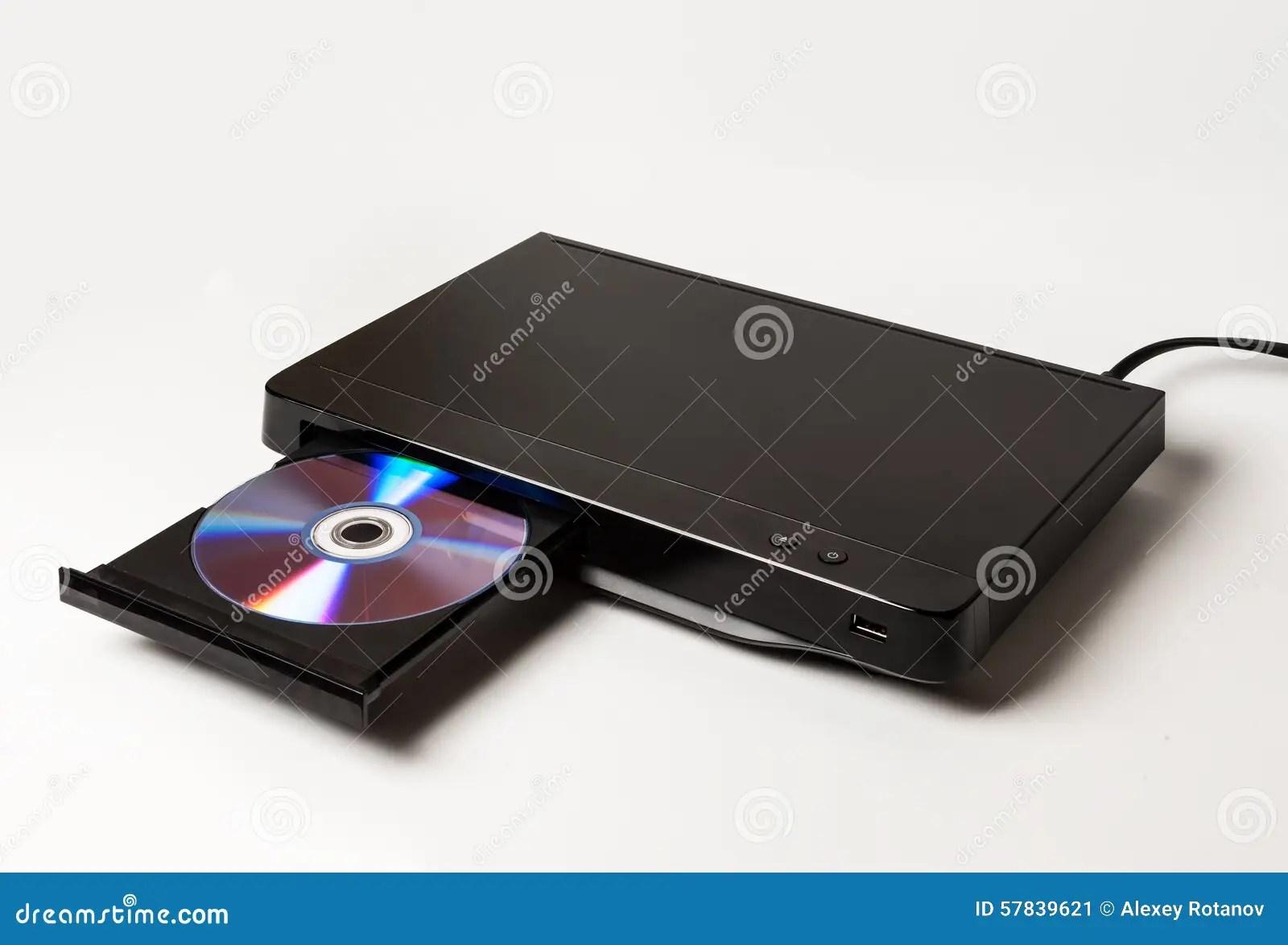 lecteur dvd ejectant le disque d isolement sur le blanc image stock image du ejectant disque 57839621
