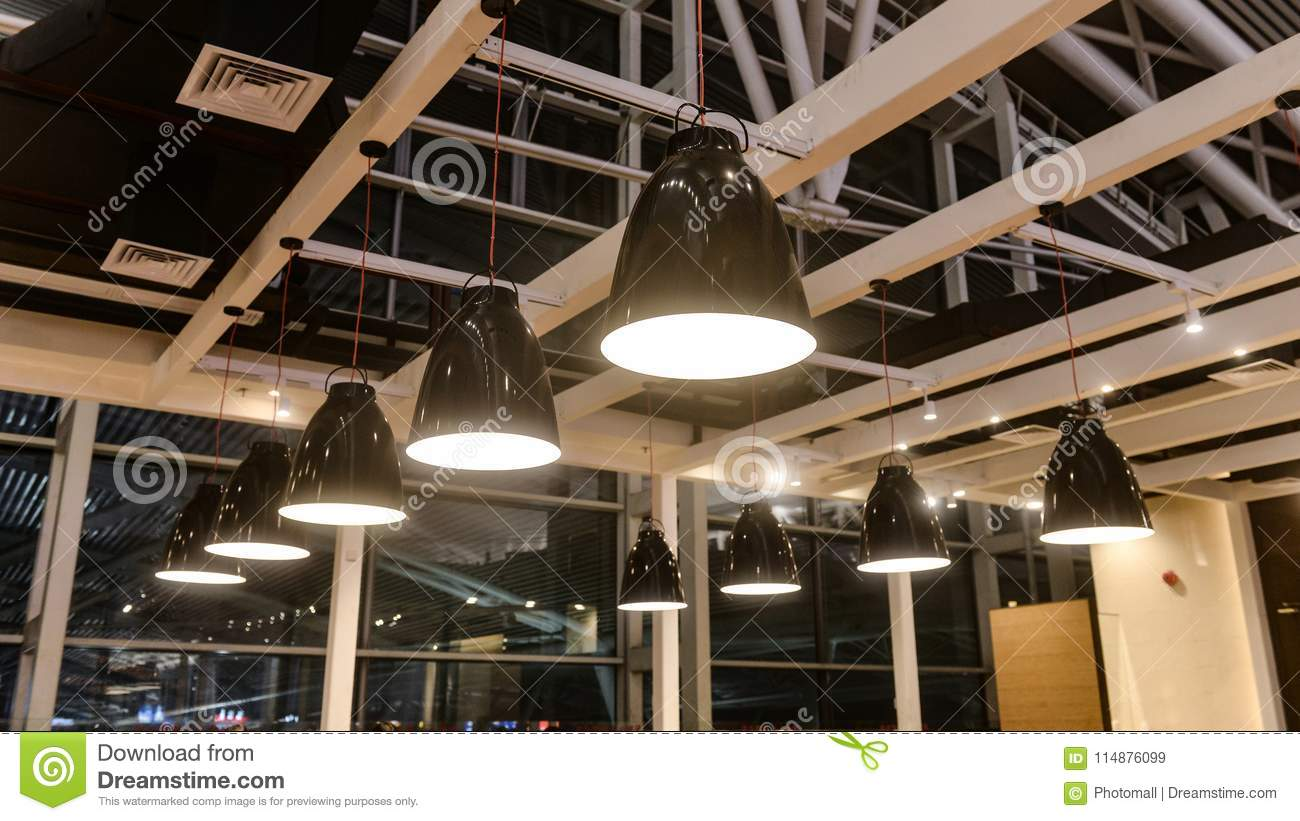 Led Hanging Lighting In Commercial Building Stock Image Image Of Bulbs Delicacy 114876099