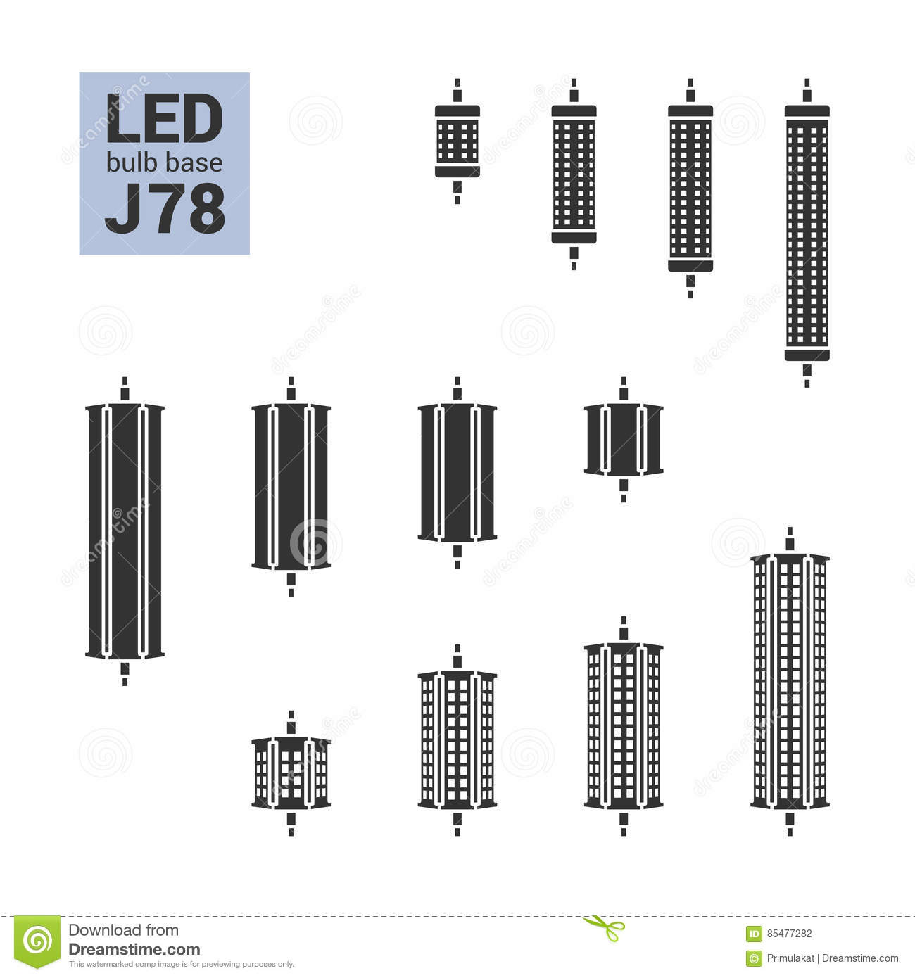 Led Light J78 Bulbs Silhouette Icon Set Royalty Free Stock