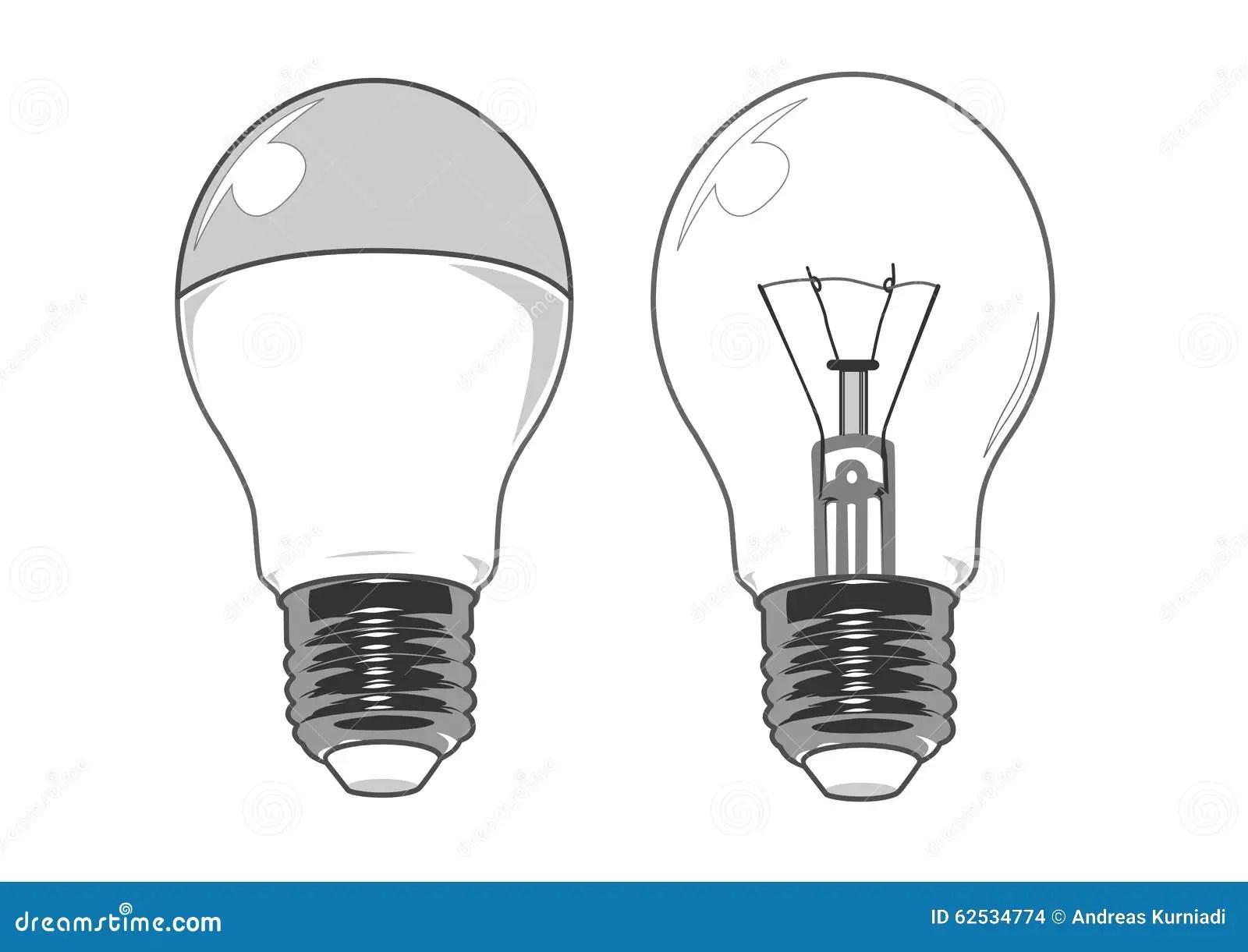Led And Regular Light Bulb Vector Image Stock Vector