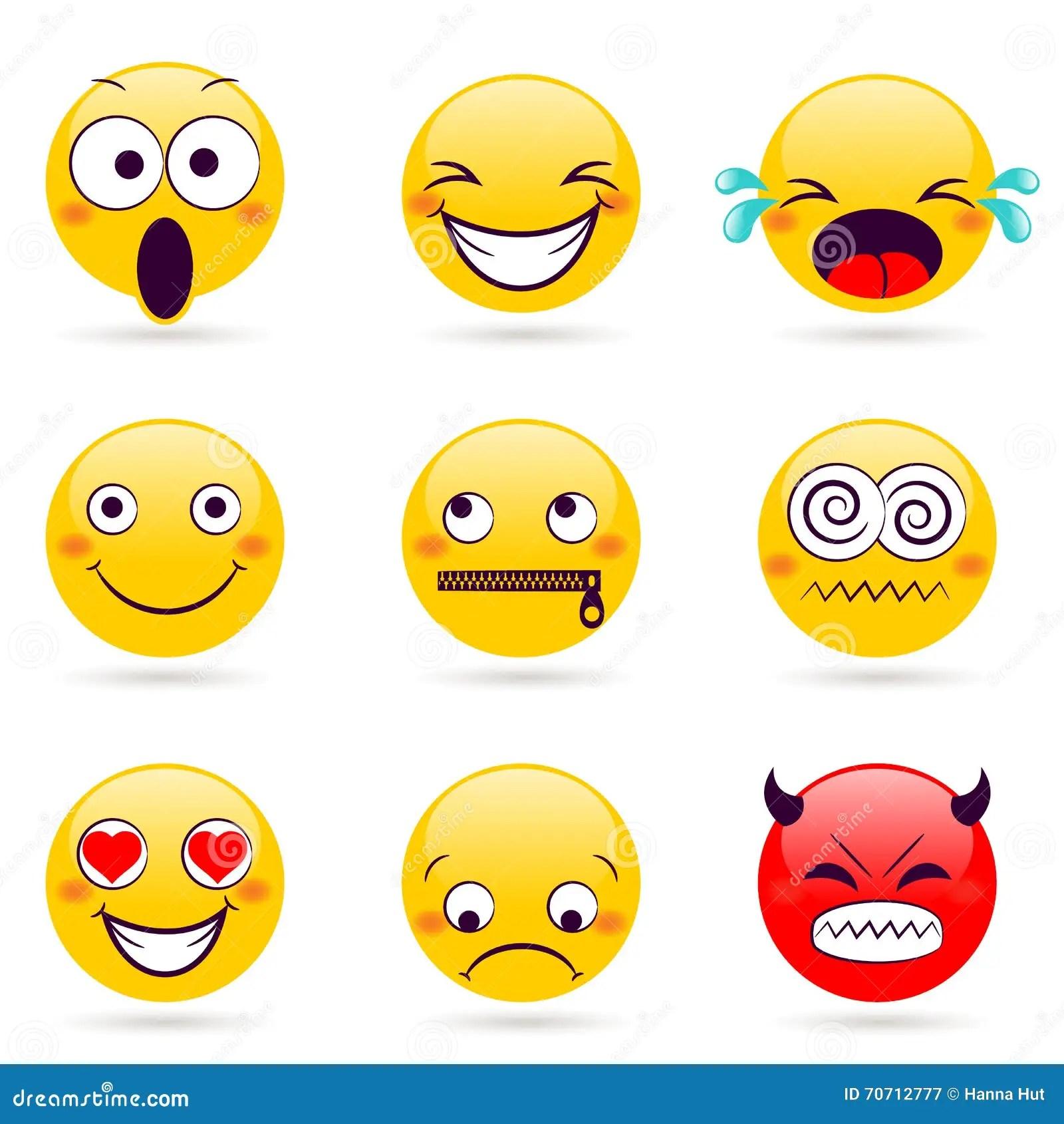 Leendesymbol Smileyframsidor Som Uttrycker Olika Kanslor