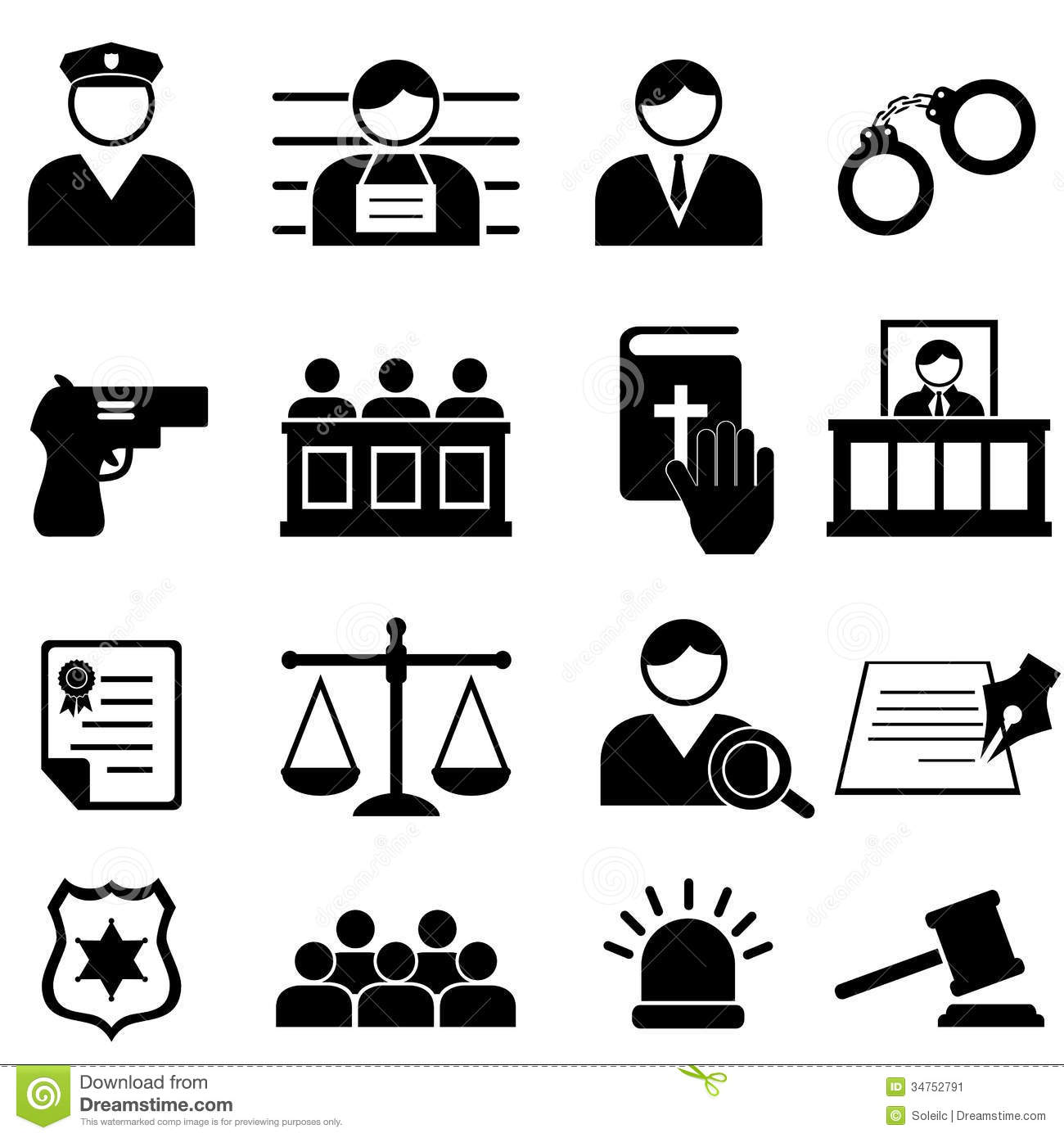 Legal Justice And Court Icons Stock Vector