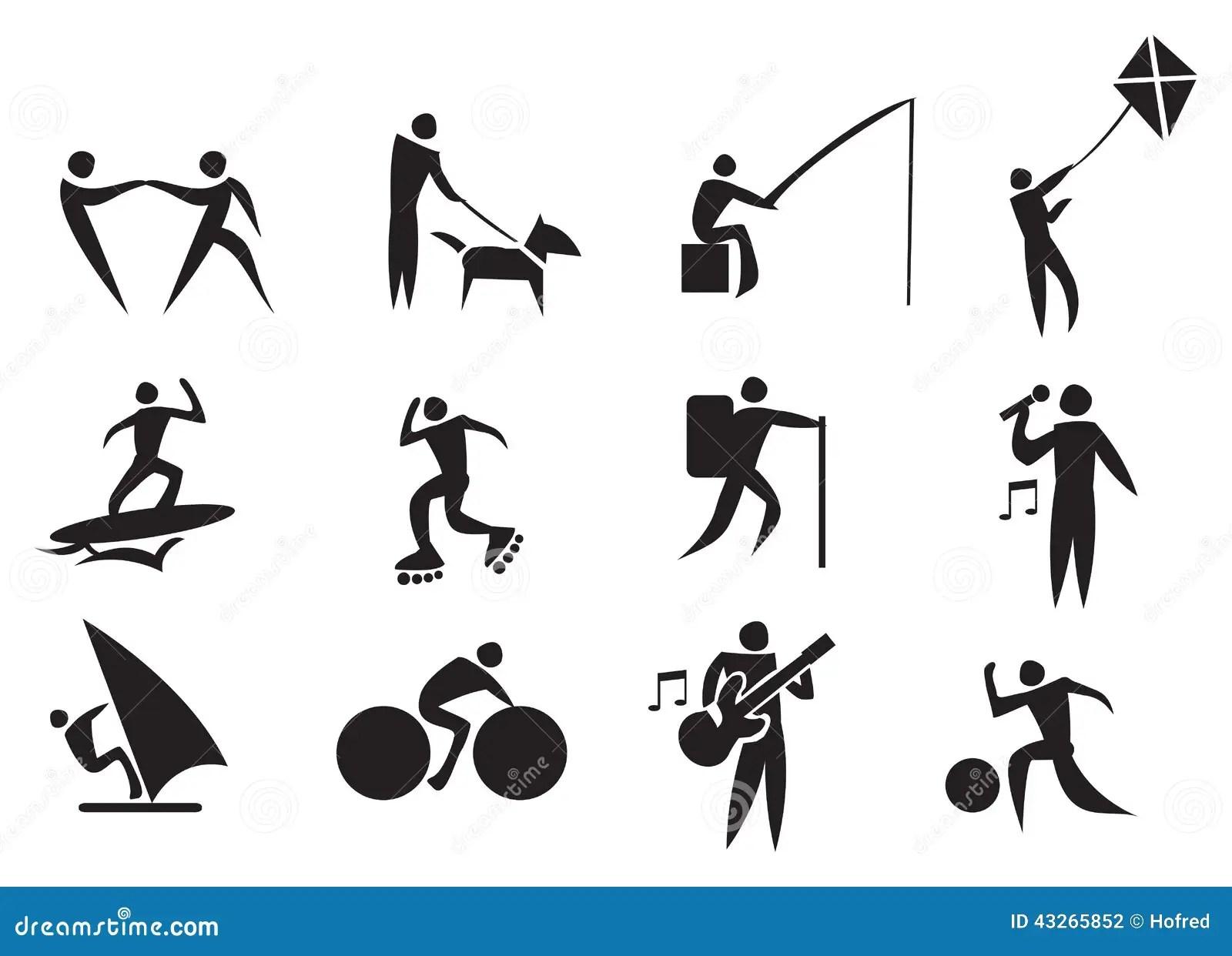 Leisure Activity Vector Icon Set Stock Vector