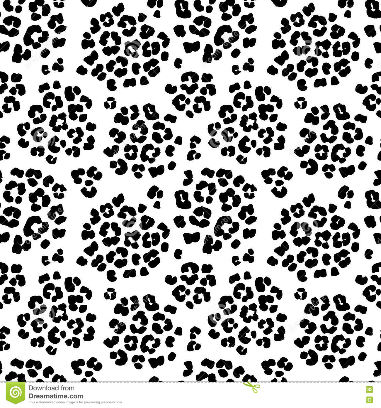 Leopard Print Seamless Background Pattern Black And White