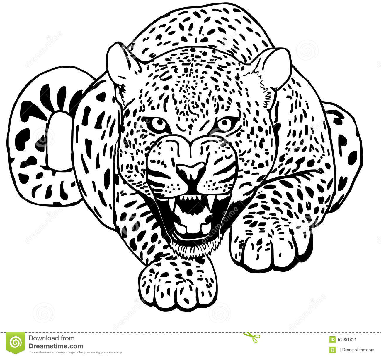 Leopard Sneaks Tattoo Vector Stock Vector