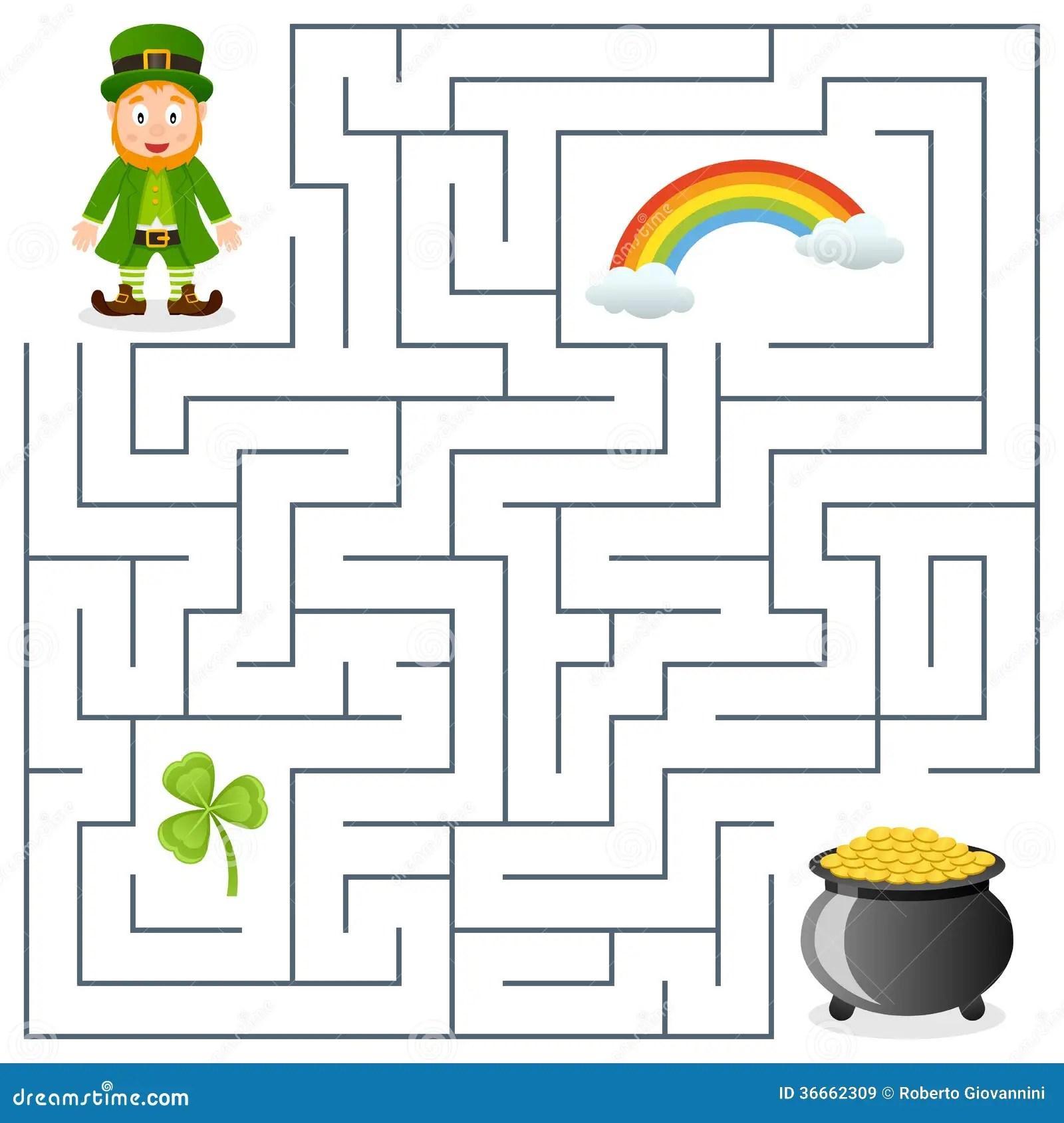 Leprechaun Amp Pot Of Gold Maze For Kids Stock Vector
