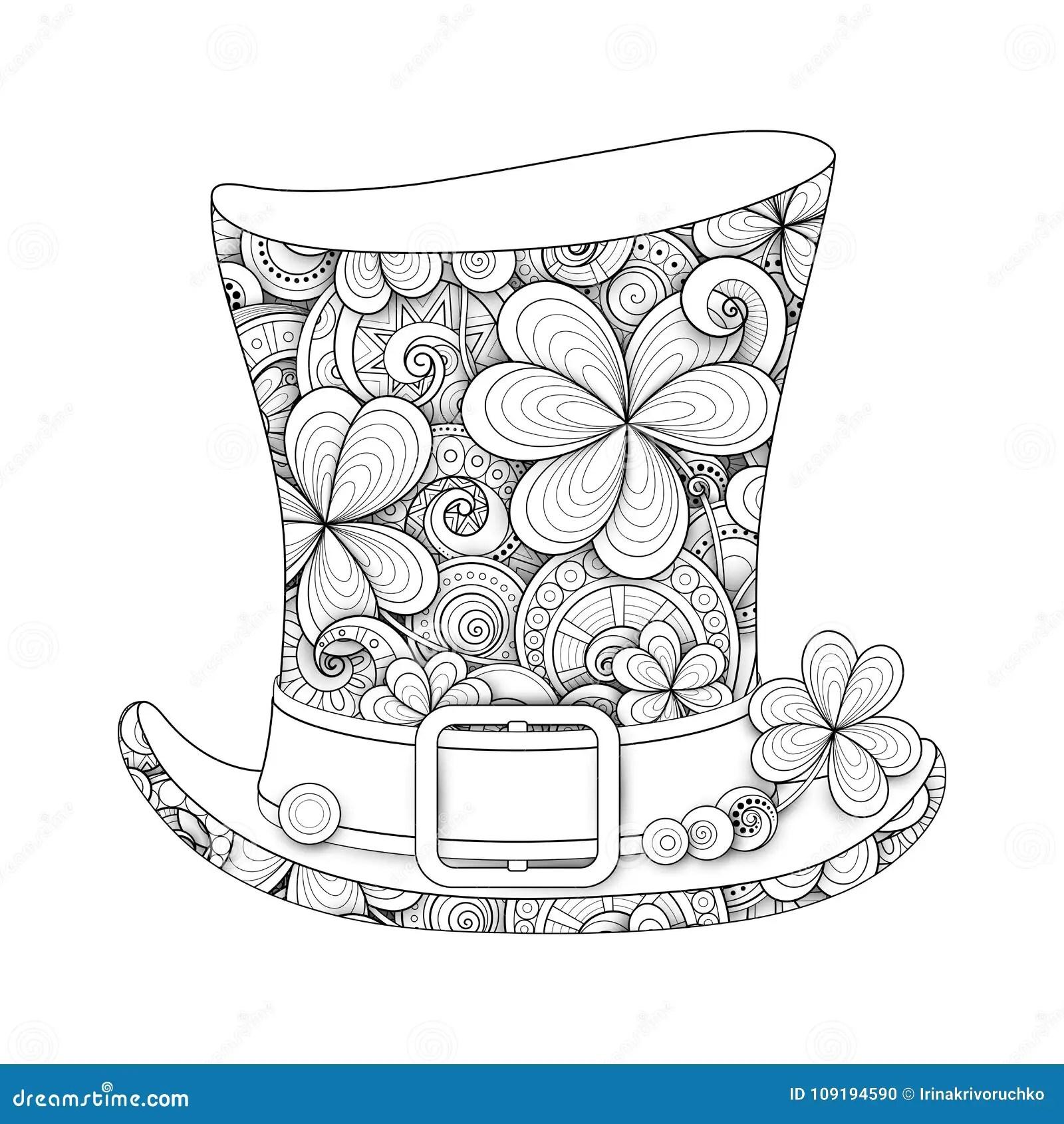 Leprechaun Vintage Top Hat Illustration Stock Vector
