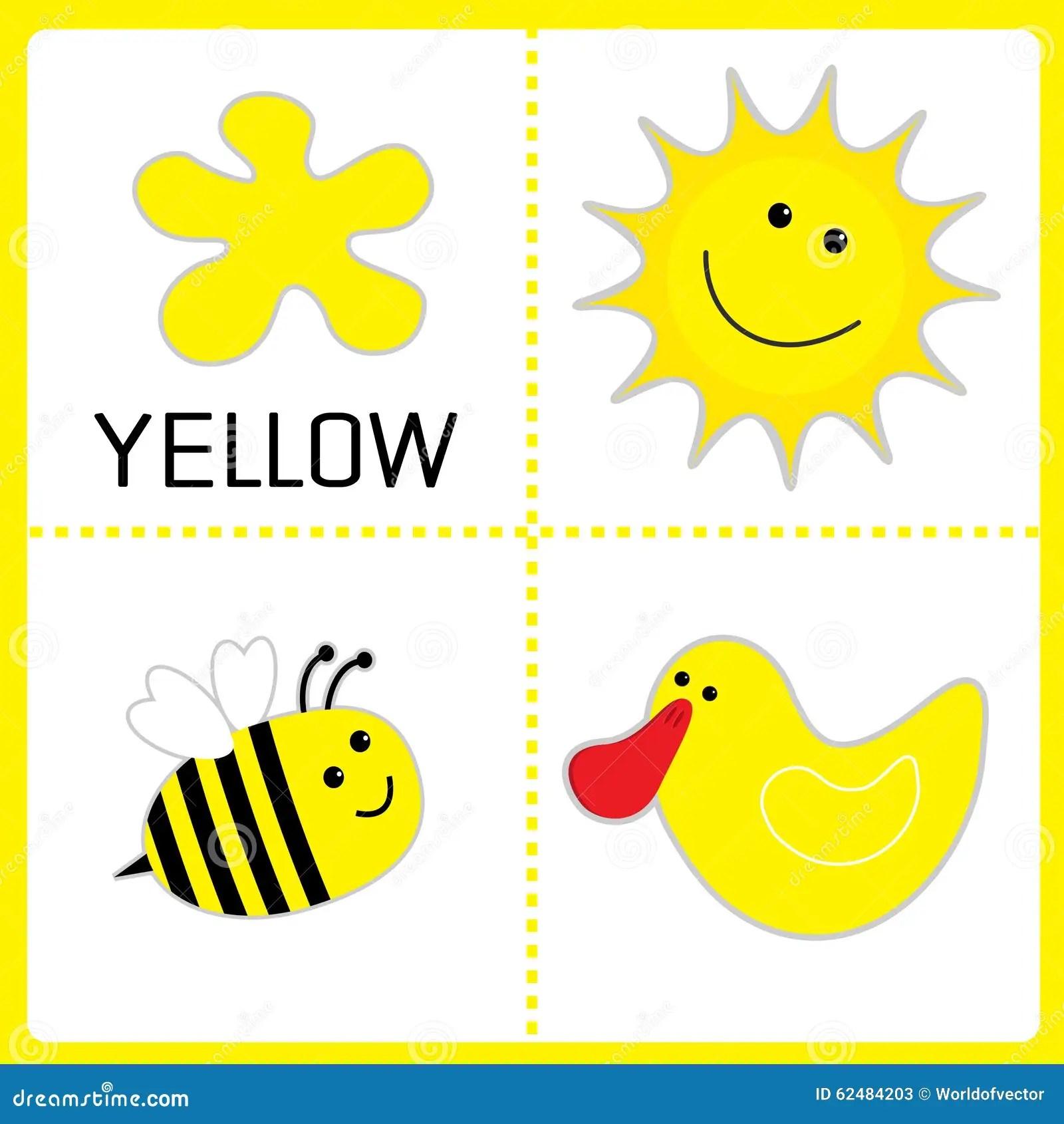 Lernen Der Gelben Farbe Sun Biene Und Ente Padagogische