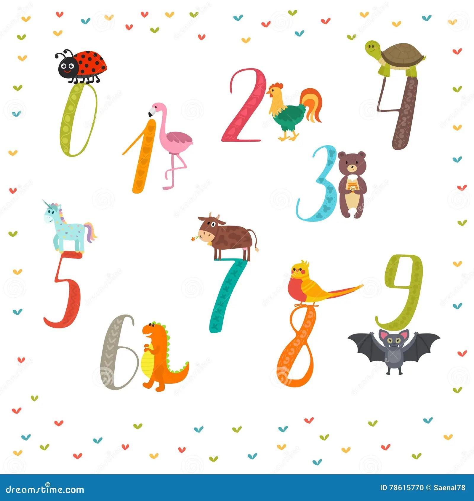 Lernen Sie Zahlen Zu Zahlen Kindische Illustration Der