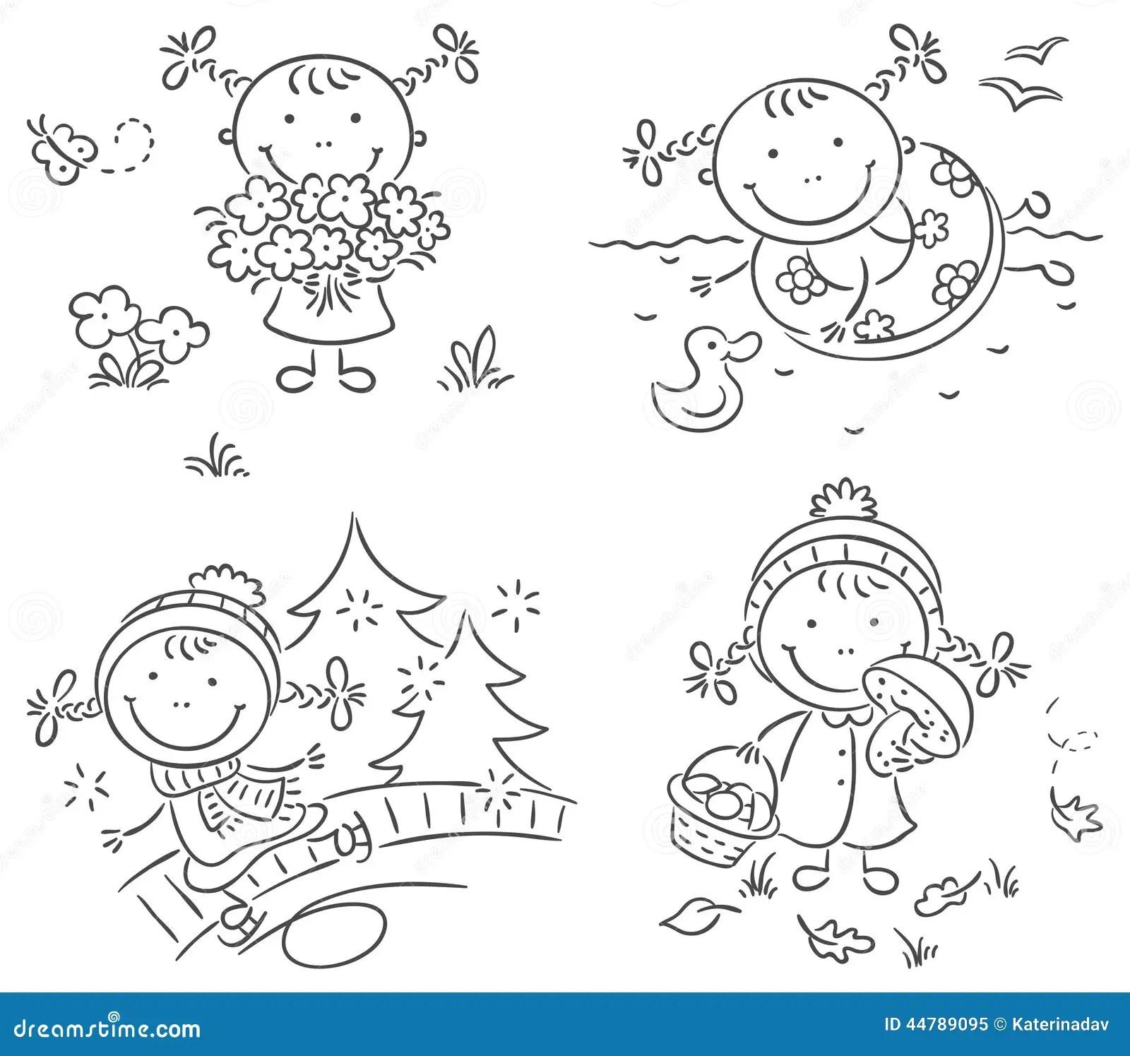 Les Activites De La Fille Pendant Les Quatre Saisons Illustration De Vecteur