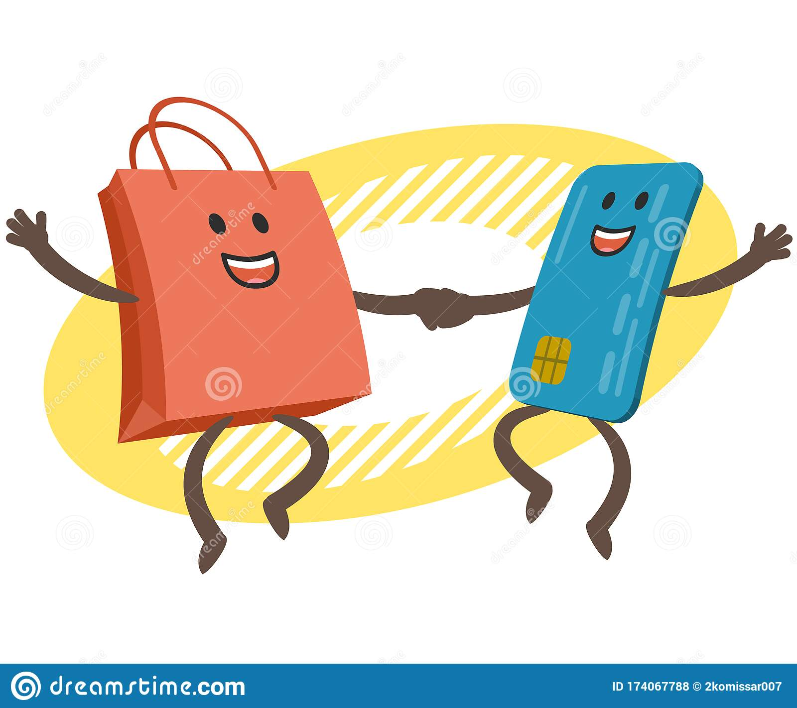 Let S Go Shopping Money Character And Credit Card