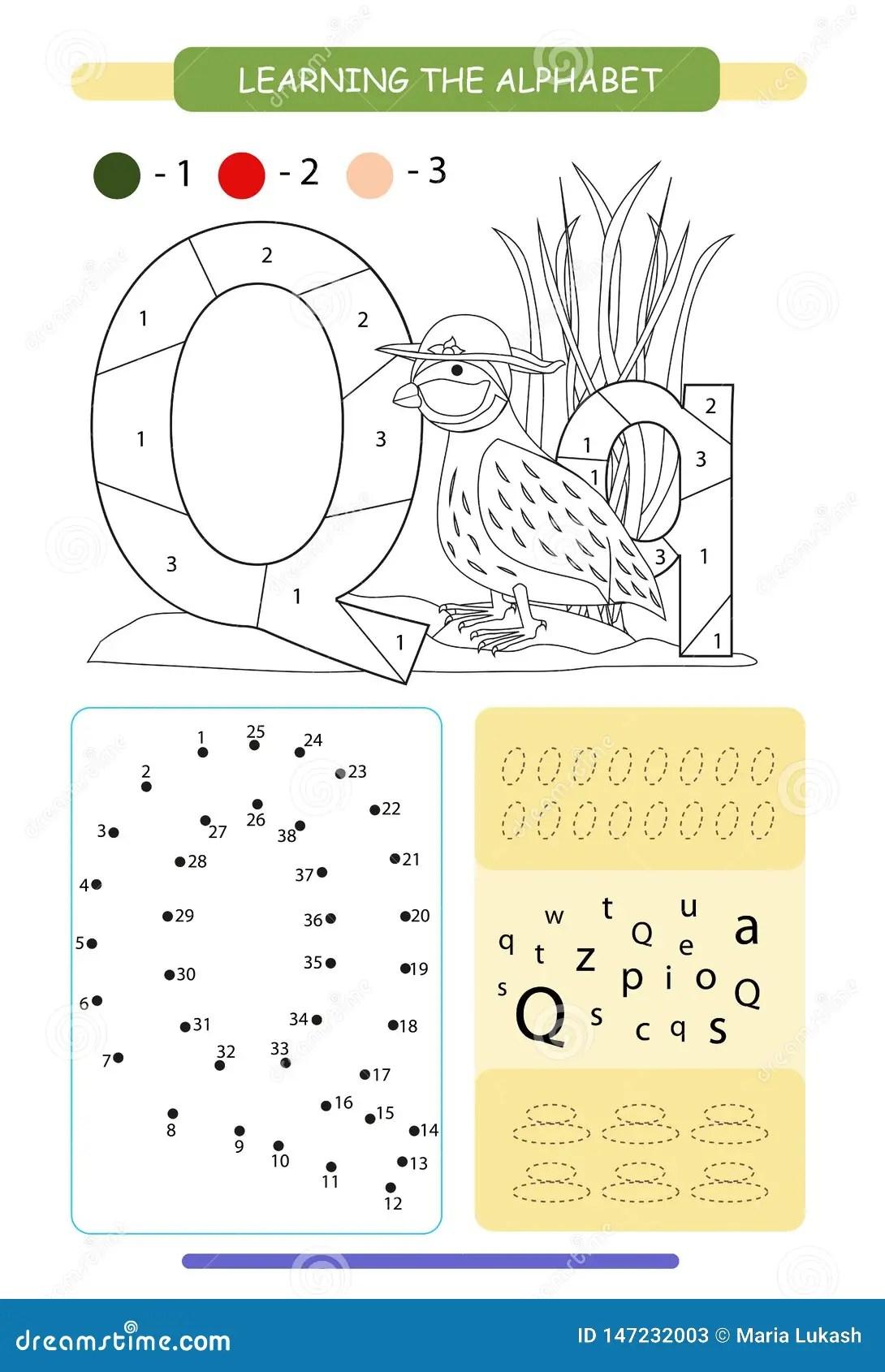 Letra Q E Codorniz Engra Adas Dos Desenhos Animados A Z Do