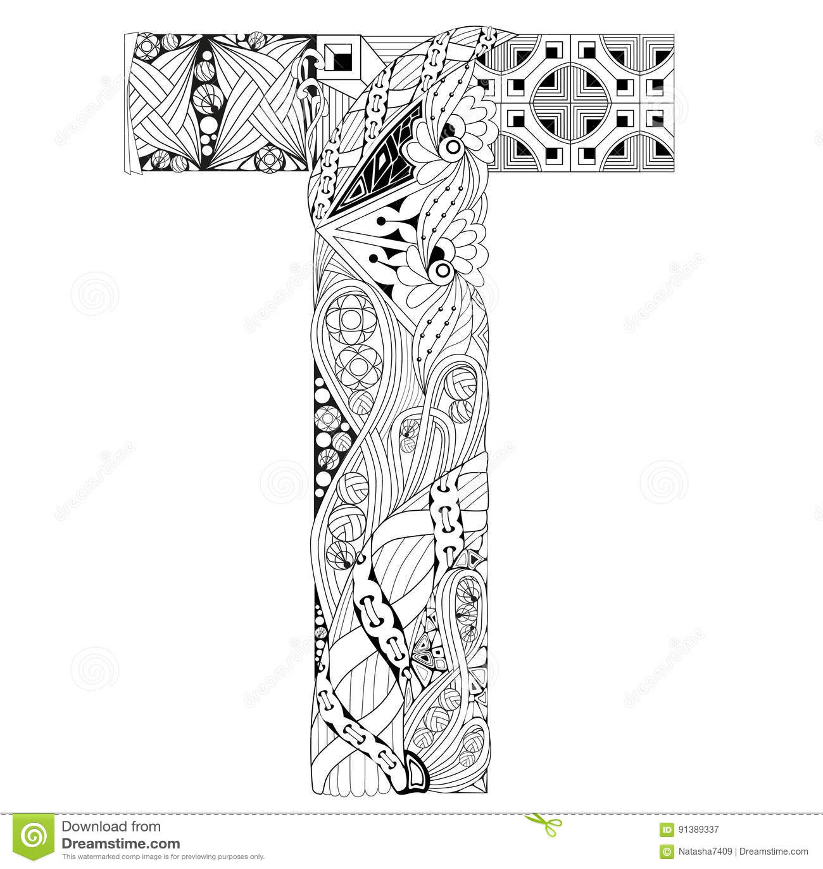 Letra T Para Colorear Objeto Decorativo Del Zentangle Del Vector Ilustracion Del Vector