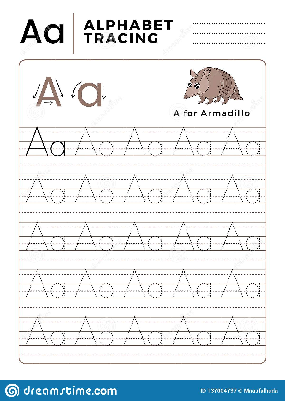 Letter A Alphabet Tracing Book With Example And Funny