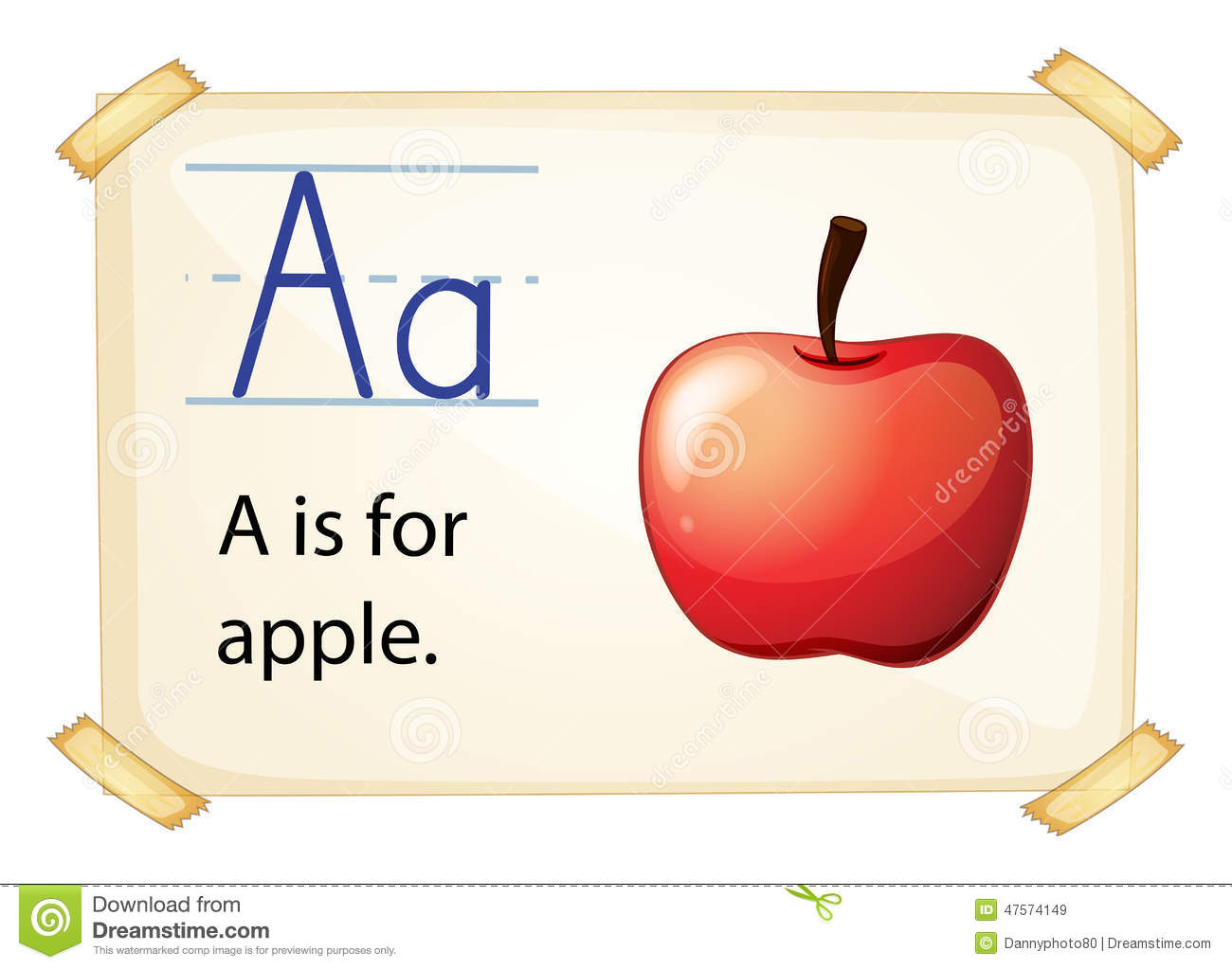 Apple With Letter A Coloring Page