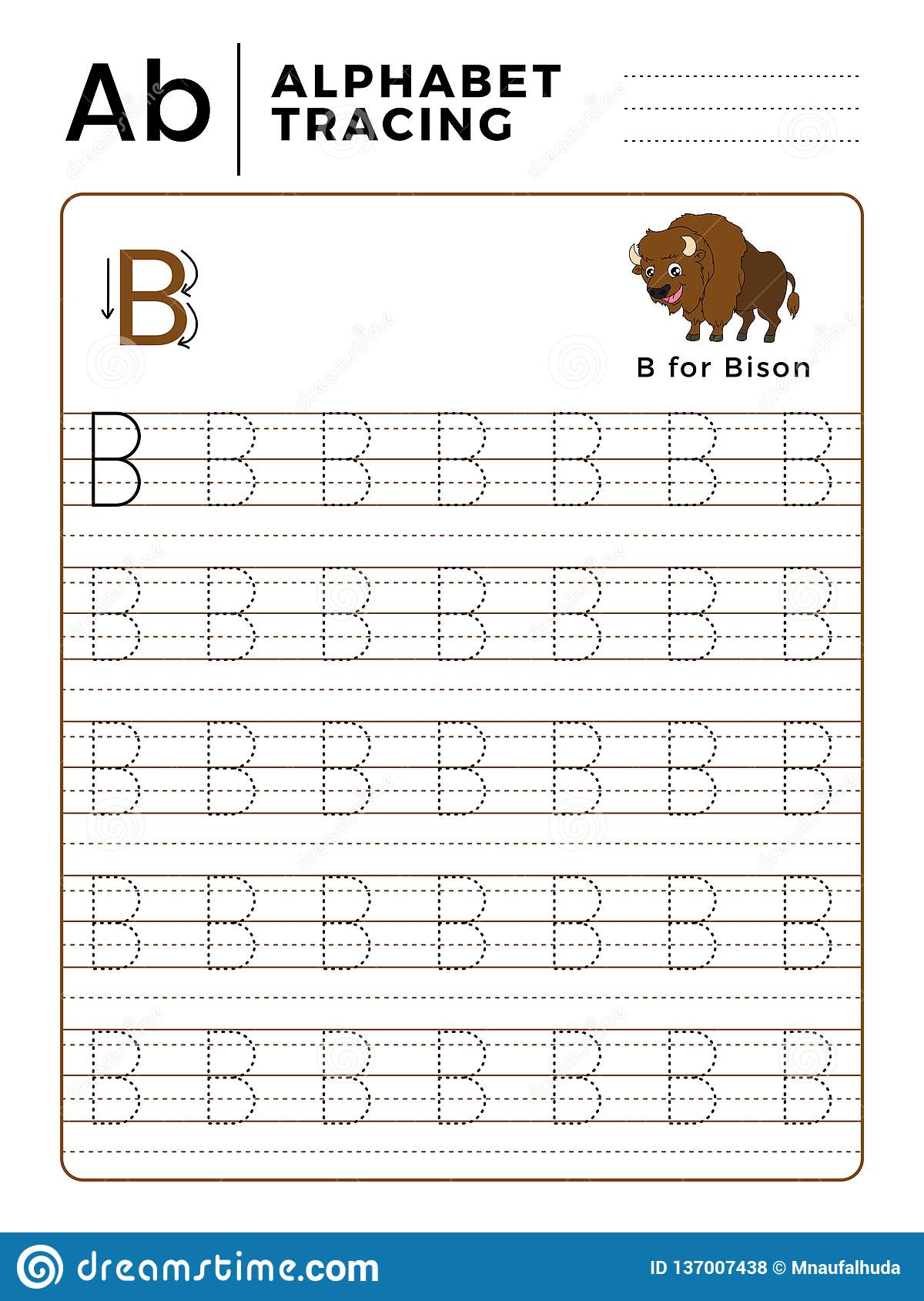 Letter B Alphabet Tracing Book With Example And Funny