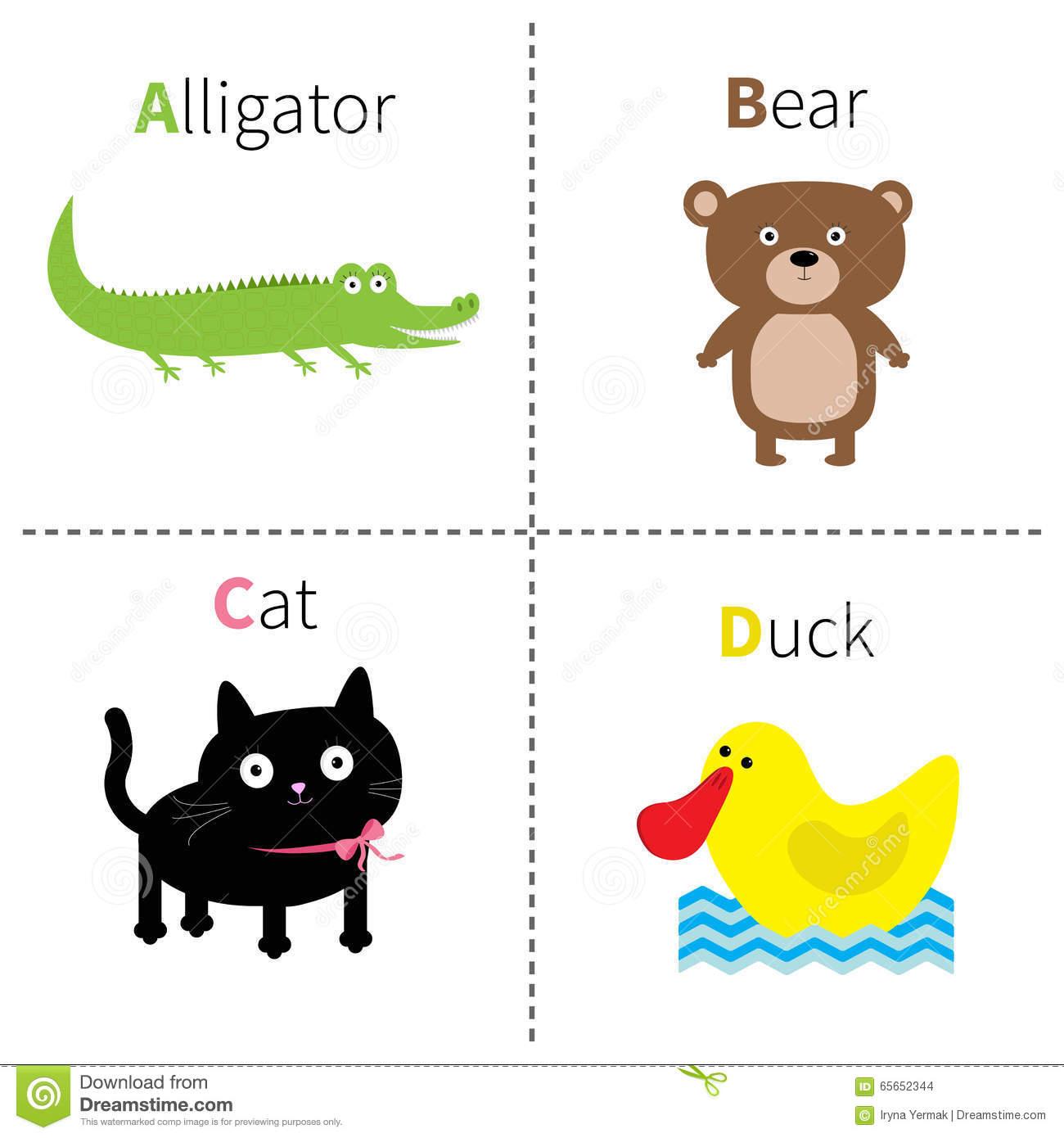 Letter D For Duck Donkey And Dinosaur Vector Illustration