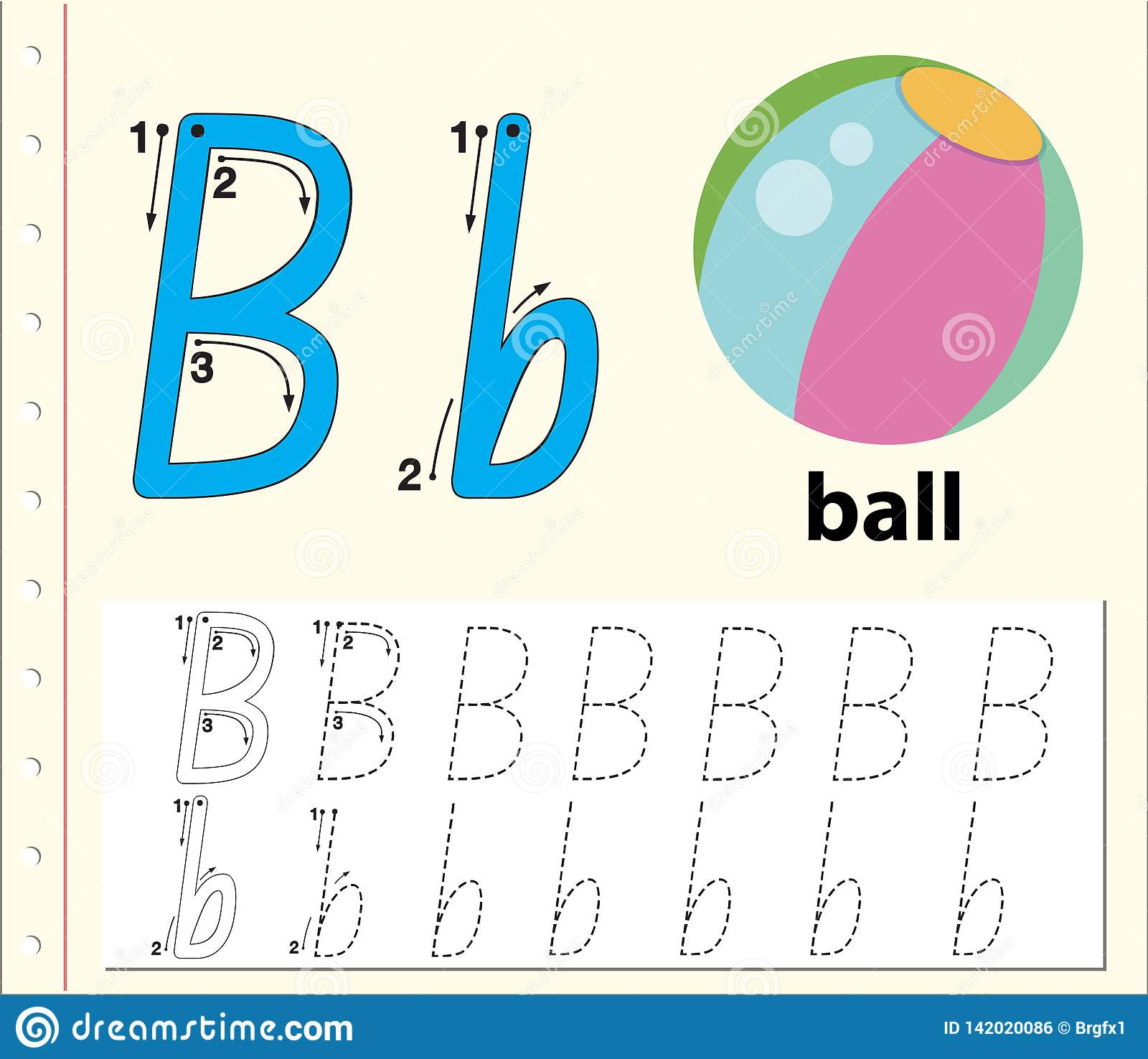 Letter B Tracing Alphabet Worksheets Stock Vector