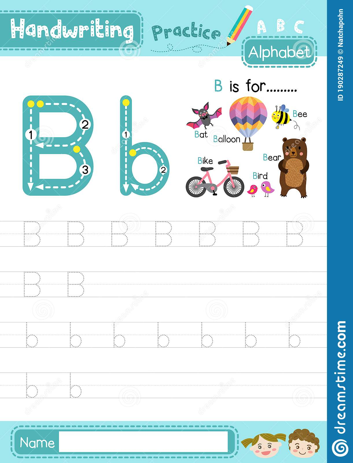 Letter B Uppercase And Lowercase Tracing Practice