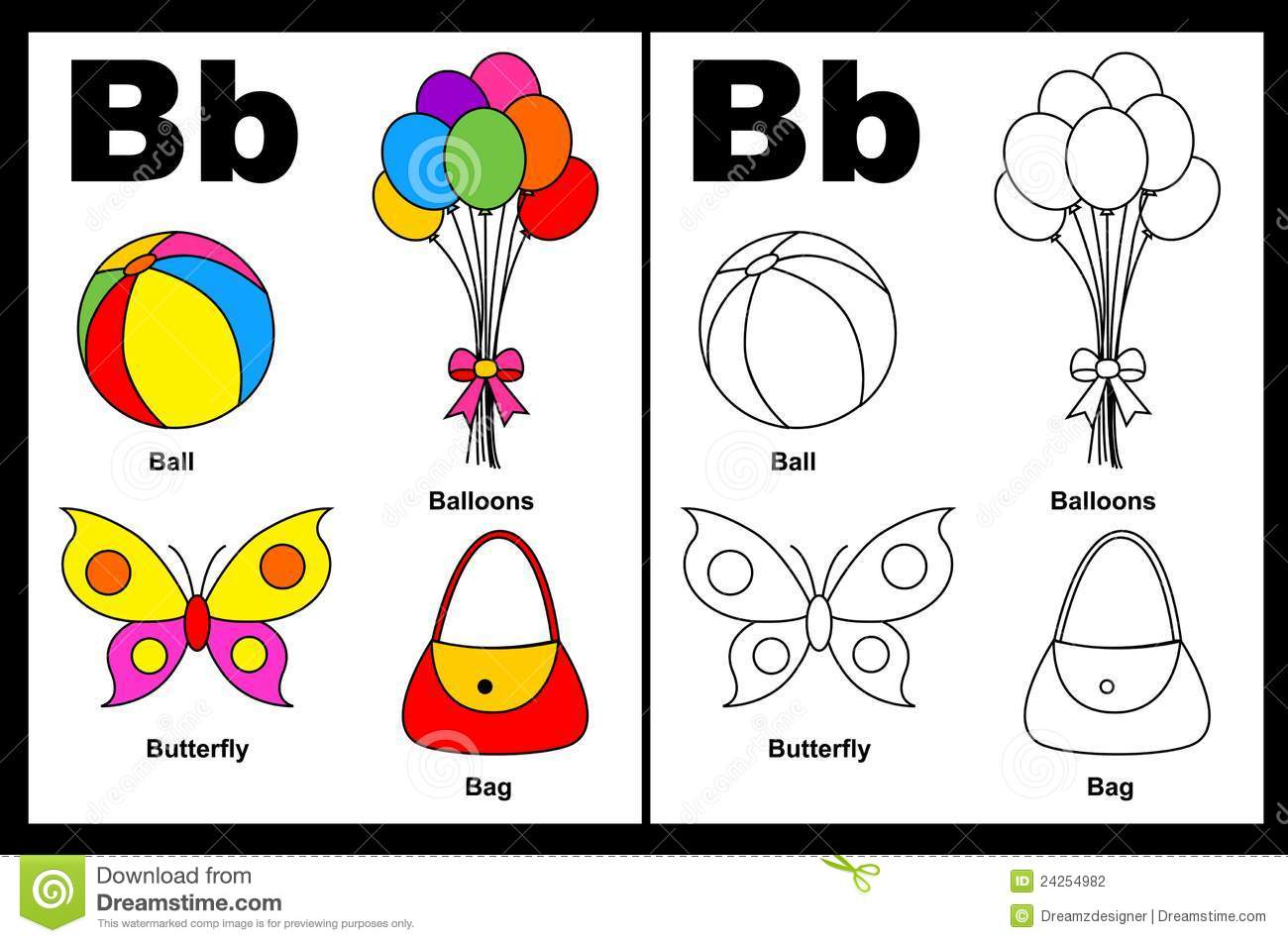 Letter B Worksheet Stock Vector Illustration Of English