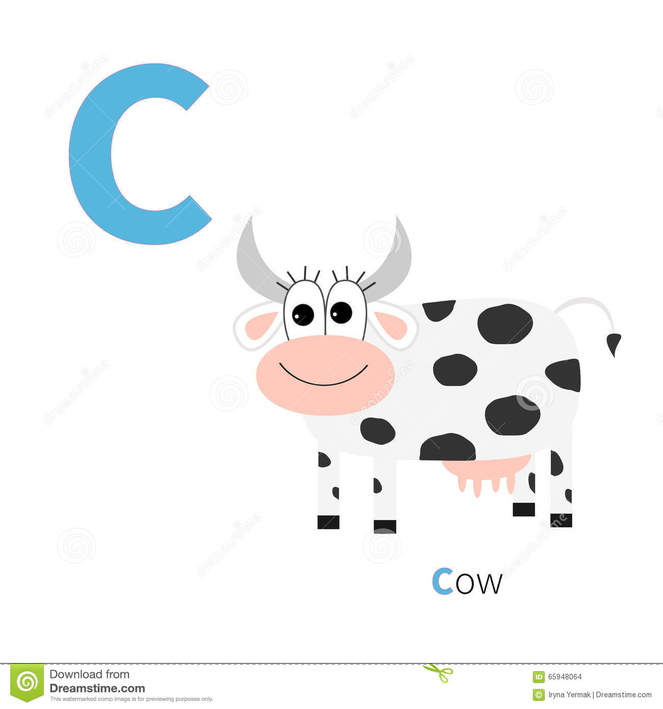 Letter C Cow Zoo Alphabet English Abc With Animals