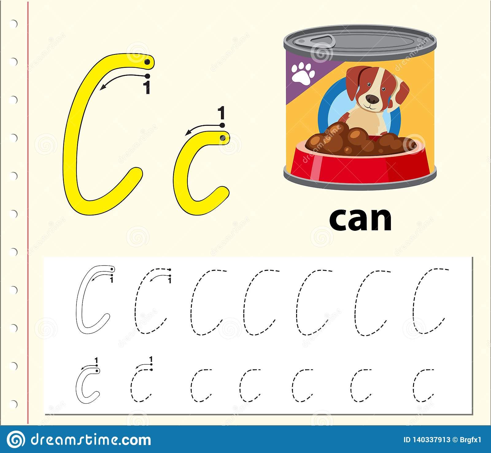 Letter C Tracing Alphabet Worksheets Stock Vector