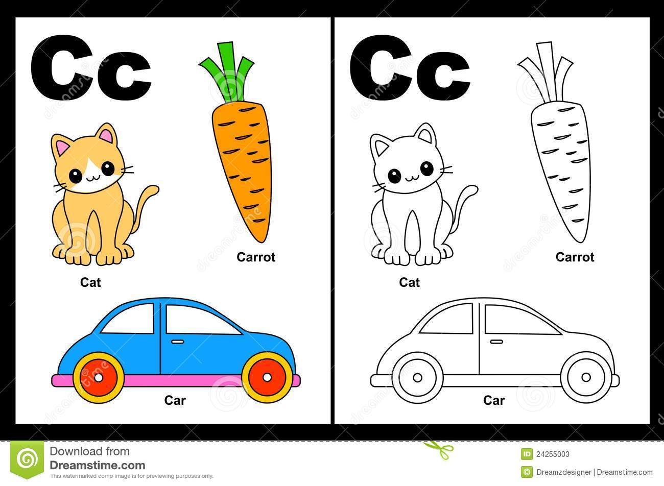 Letter C Worksheet Stock Vector Illustration Of Fonts