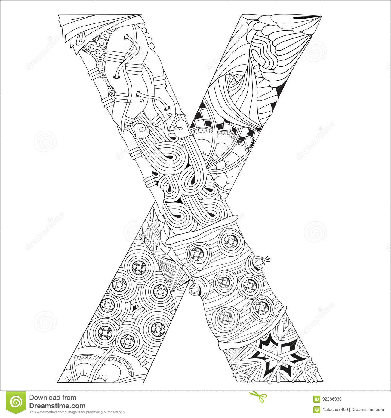 Letter X For Coloring Vector Decorative Zentangle Object