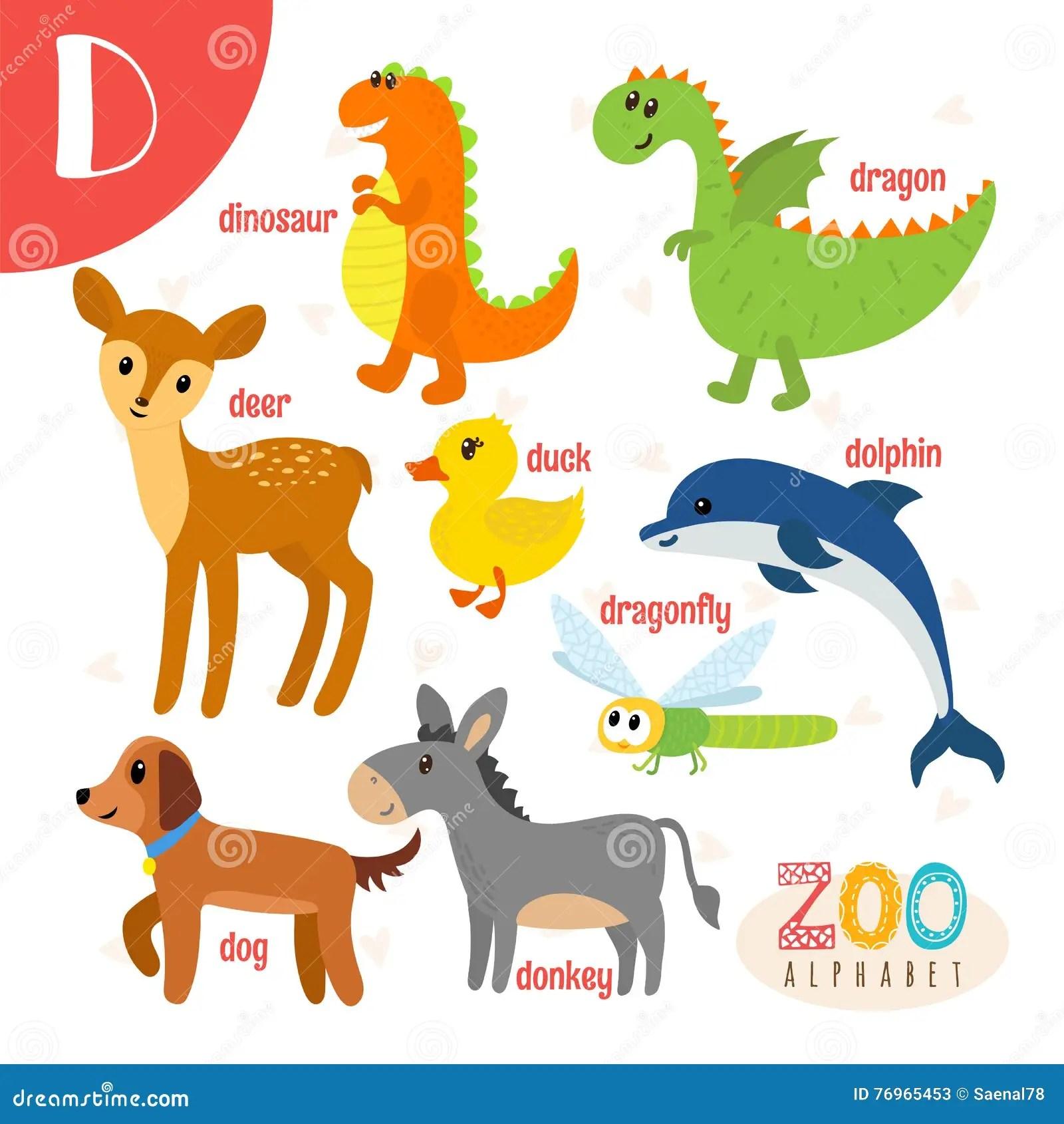 Letter D For Duck Donkey And Dinosaur Vector Illustration