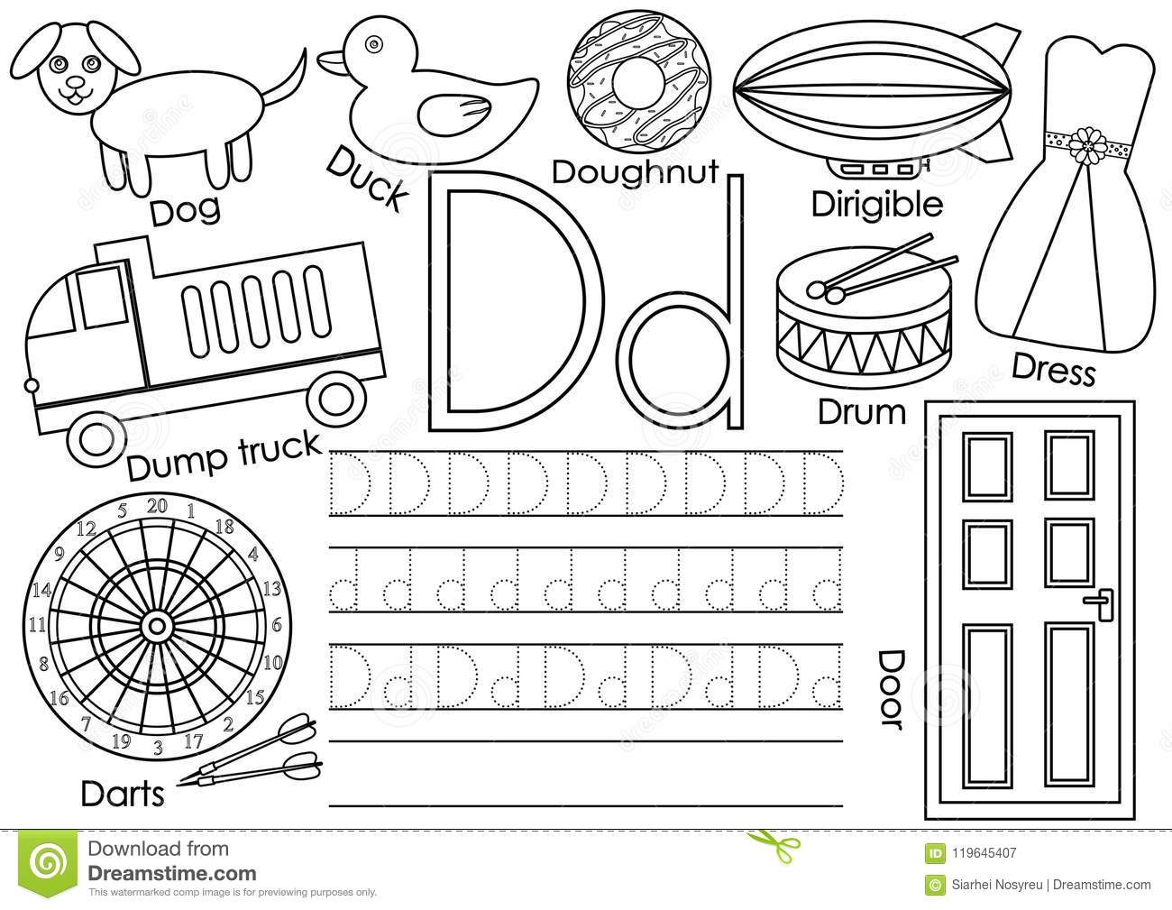 Letter D Learning English Alphabet And Writing Practice