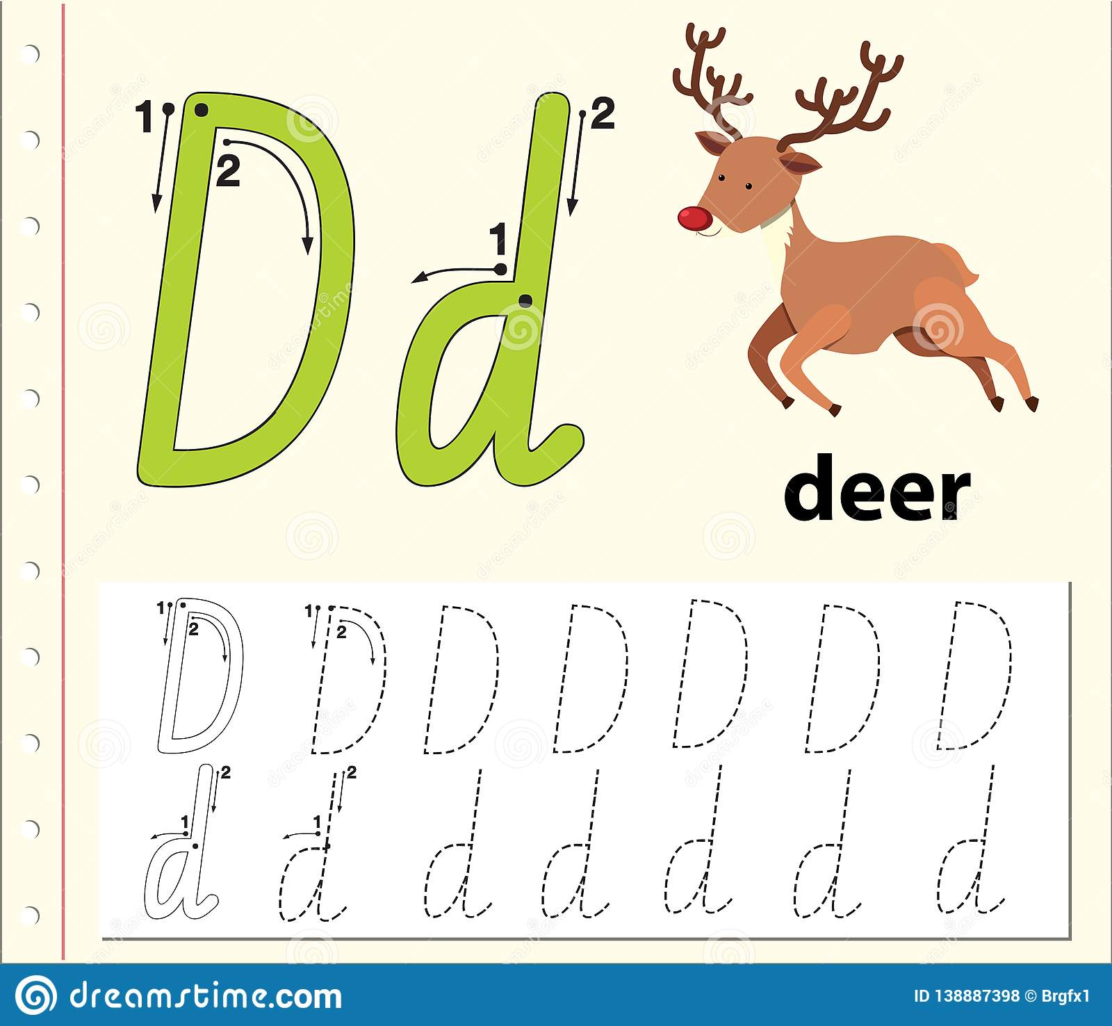 Letter D Tracing Alphabet Worksheets Stock Vector