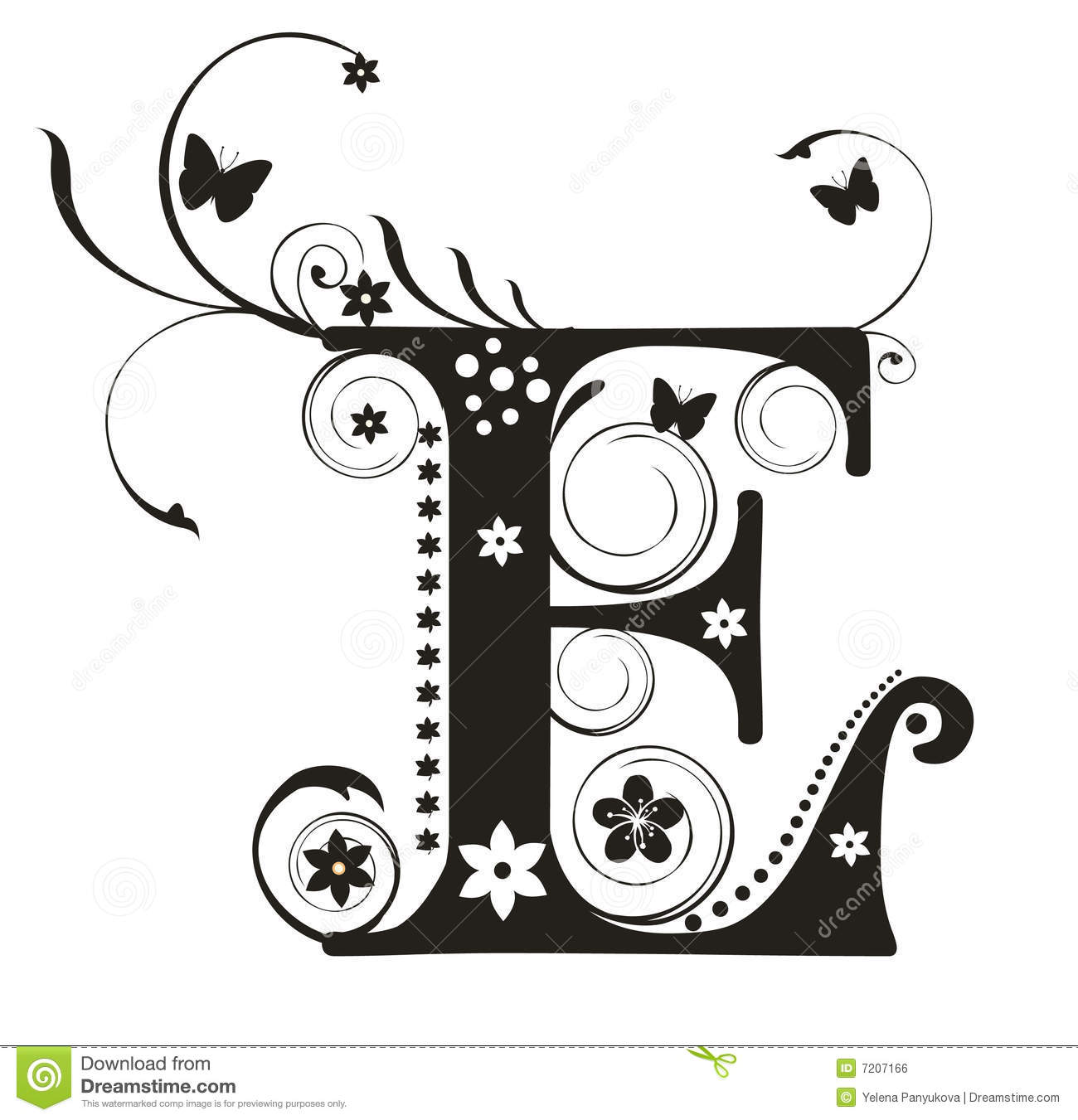 Letter E Stock Vector Illustration Of Element Floral