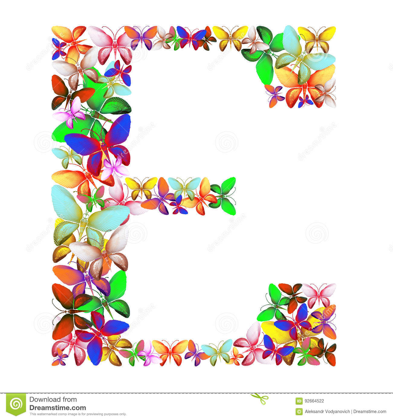 The Letter E Made Up Of Lots Of Butterflies Of Different