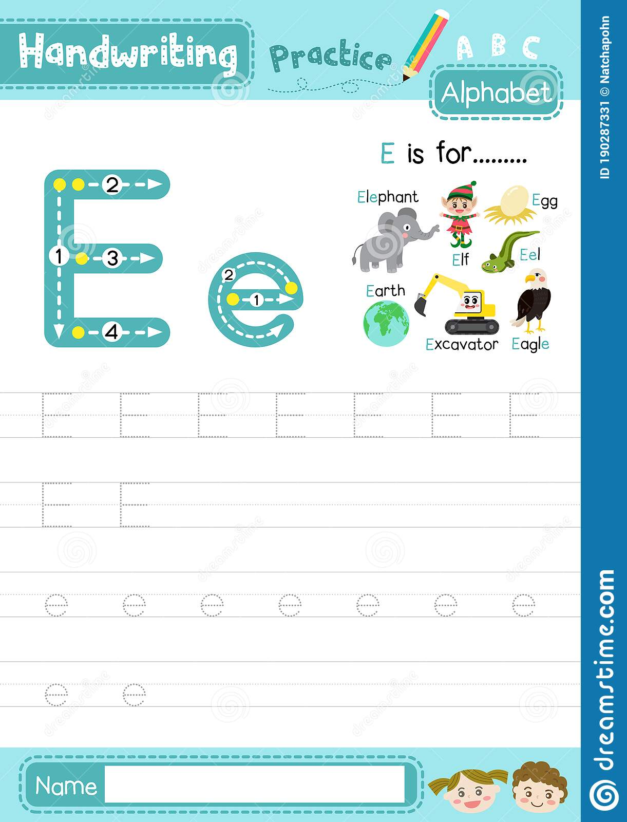 Letter E Uppercase And Lowercase Tracing Practice