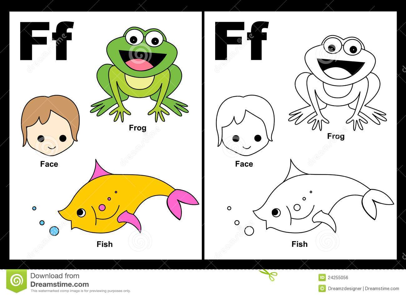 Letter F Worksheet Stock Vector Illustration Of Happy