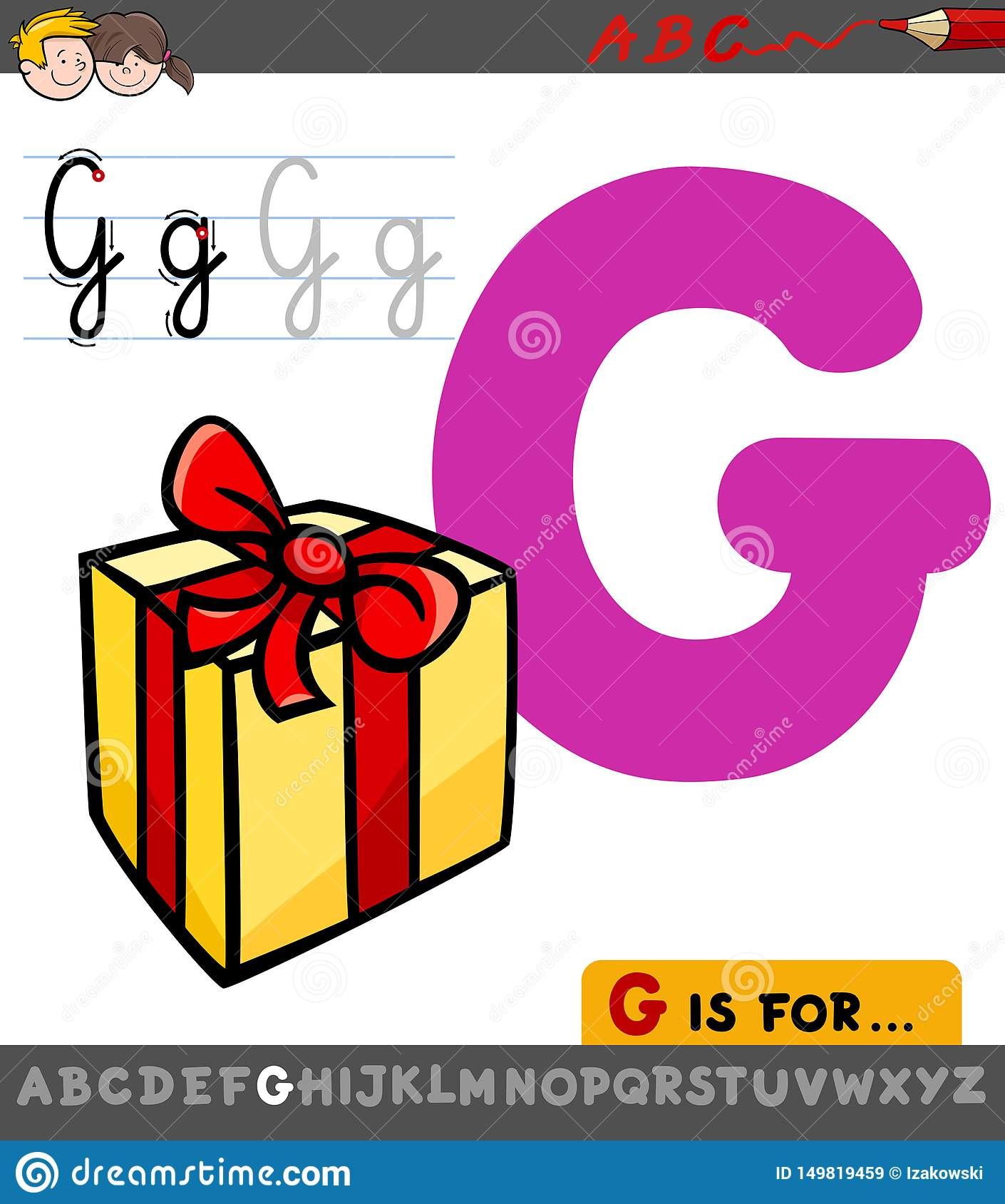 Letter G Worksheet With Cartoon T Stock Vector