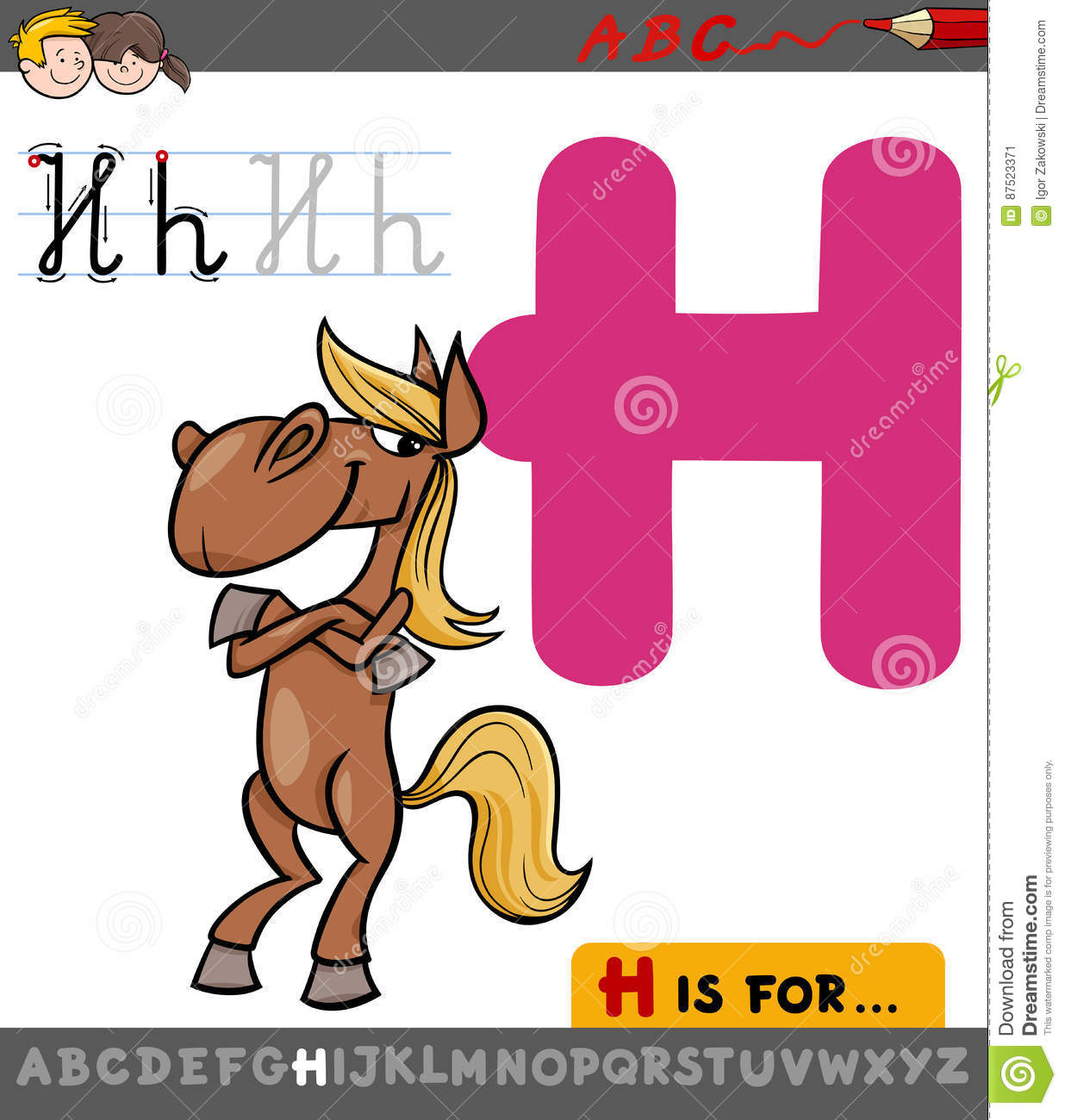 Letter H With Cartoon Horse Cartoon Vector