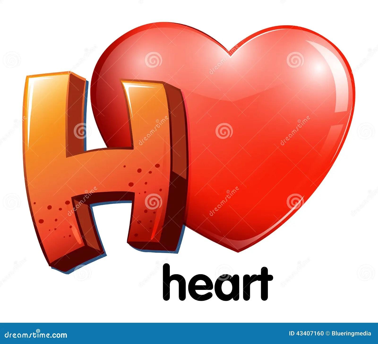 A Letter H For Heart Stock Vector Illustration Of