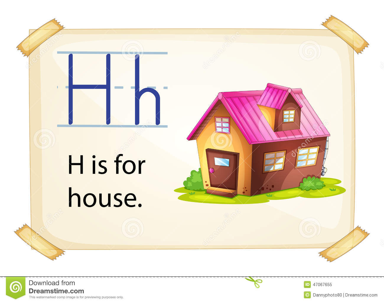 A Letter H For House Stock Vector Illustration Of Educate