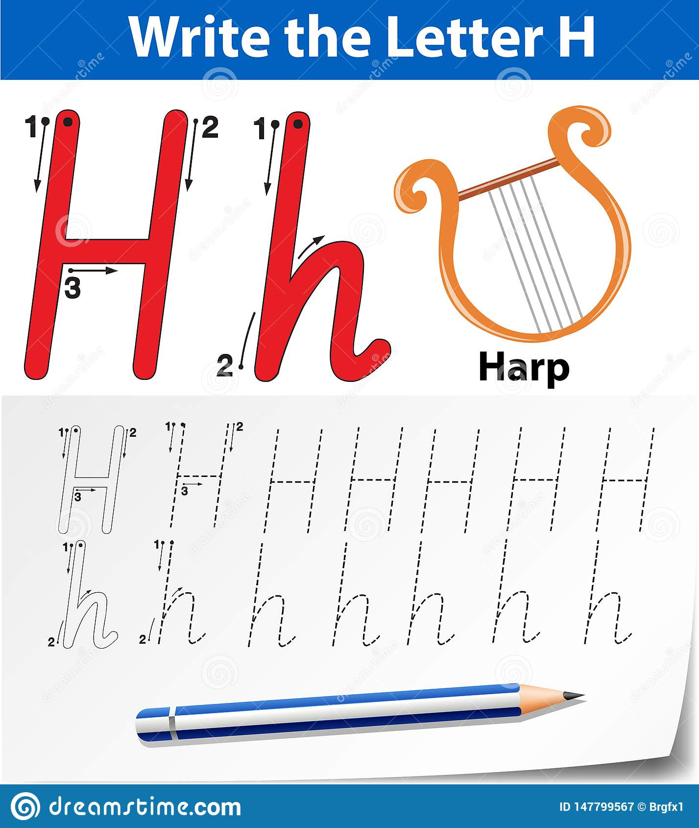 Letter H Tracing Alphabet Worksheets Stock Vector