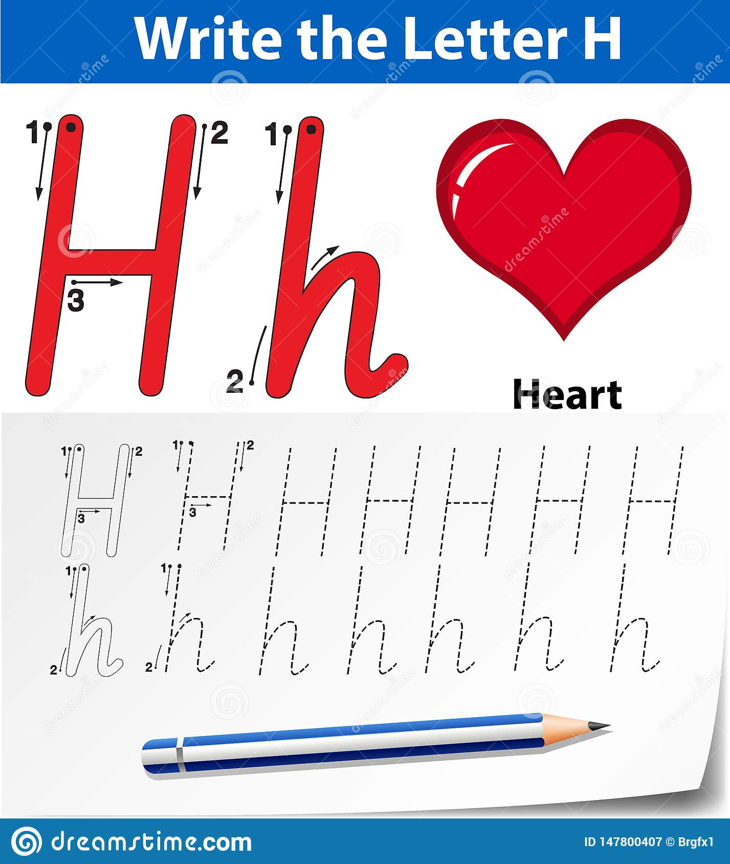 Letter H Tracing Alphabet Worksheets Stock Illustration
