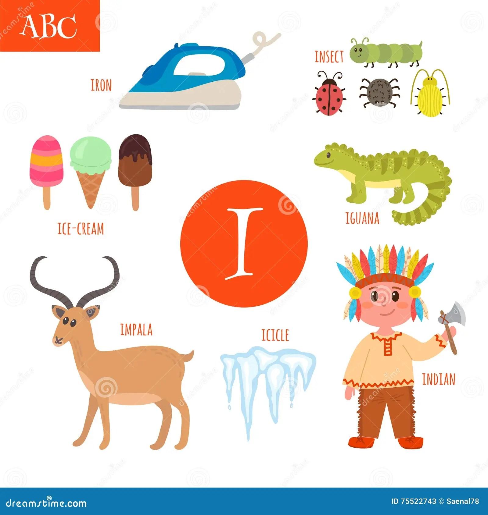 Letter I Cartoon Alphabet For Children Iguana Ice Cream