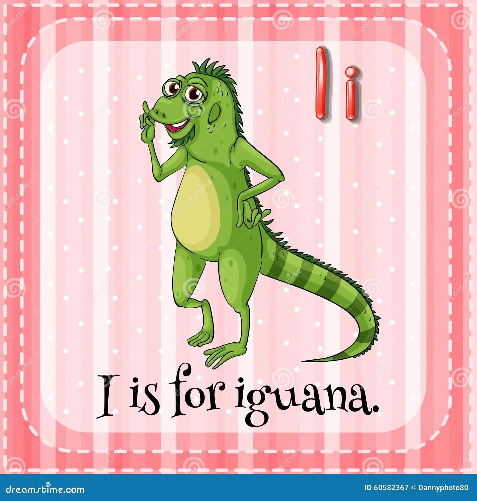 Letter I Is For Iguana Stock Vector