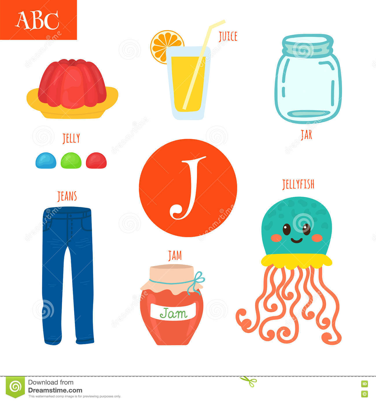 Letter J Cartoon Alphabet For Children Jellyfish Jelly Jar Stock Vector